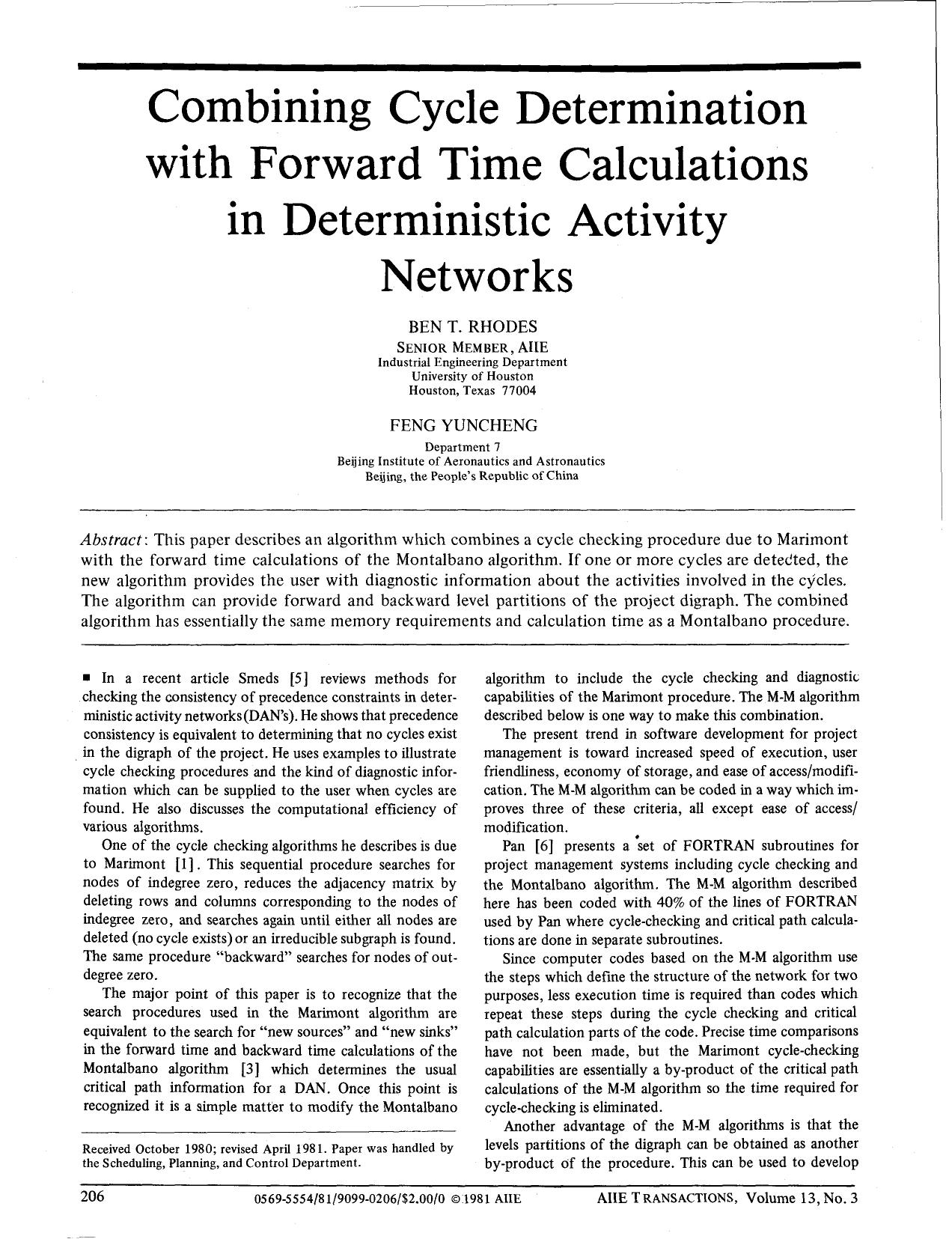 Copertina del libro Combining Cycle Determination with Forward Time Calculations in Deterministic Activity Networks