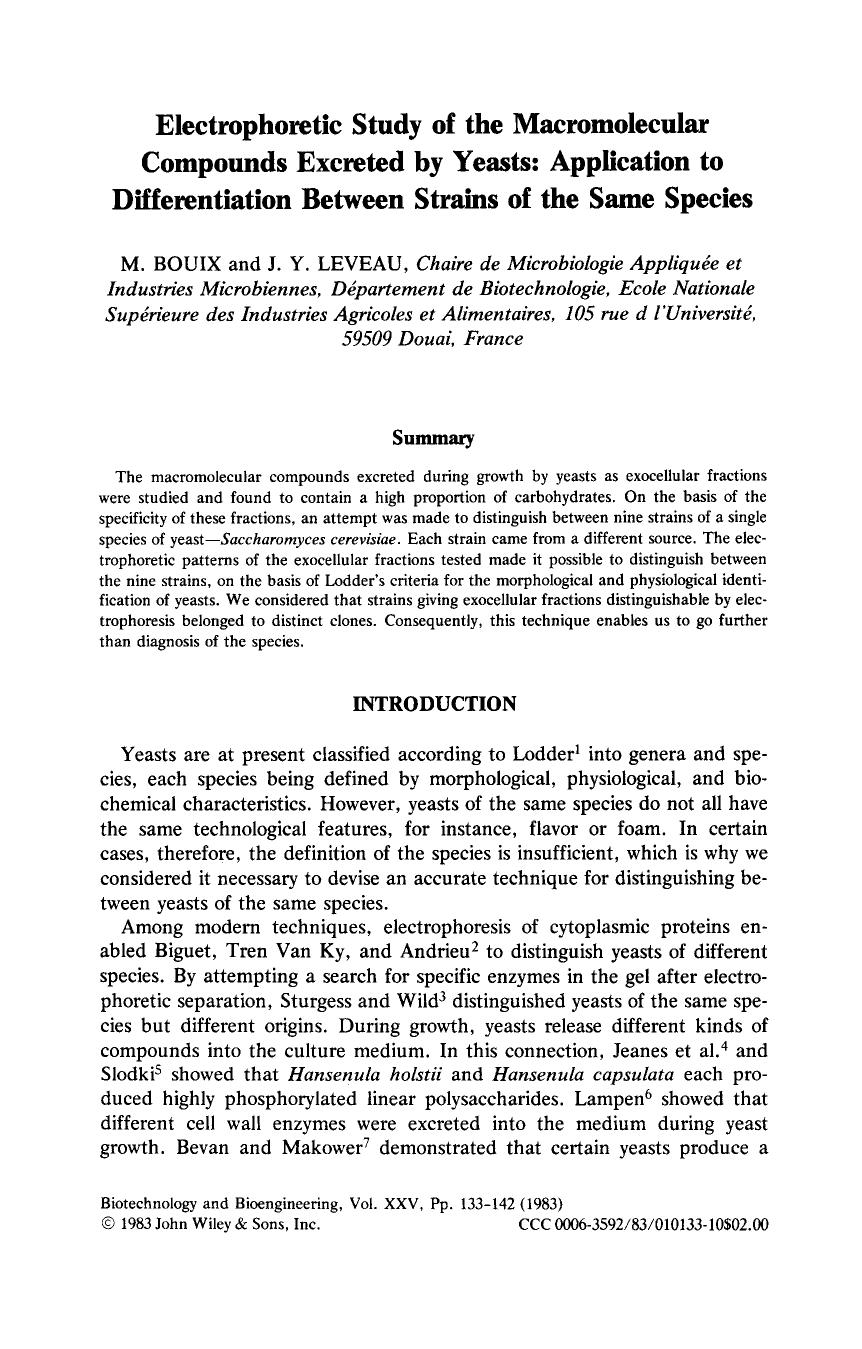 Portada del libro Electrophoretic study of the macromolecular compounds excreted by yeasts: Application to differentiation between strains of the same species