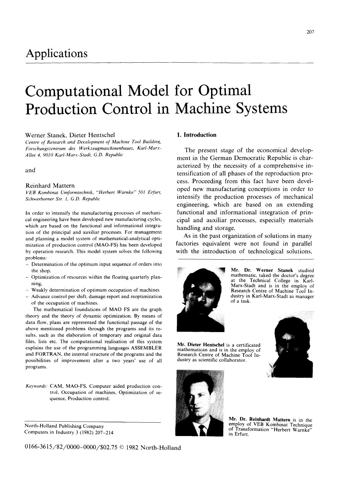 Обкладинка книги Computational model for optimal production control in machine systems