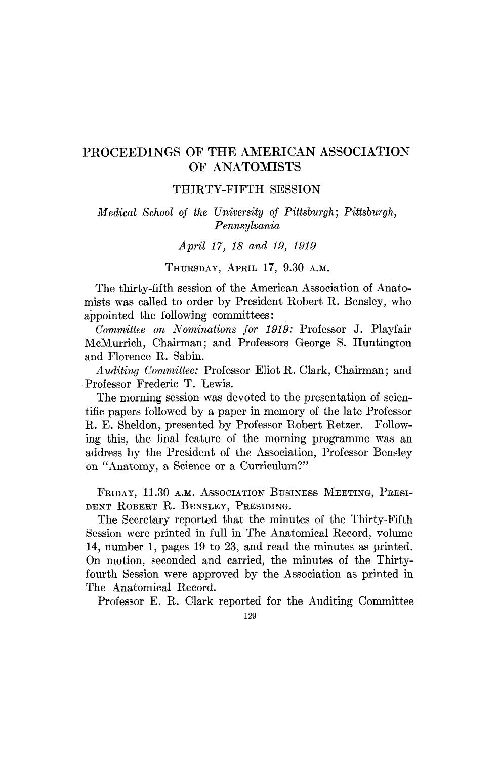 पुस्तक आवरण Proceedings of the American Association of Anatomists. Thirty-fifth session