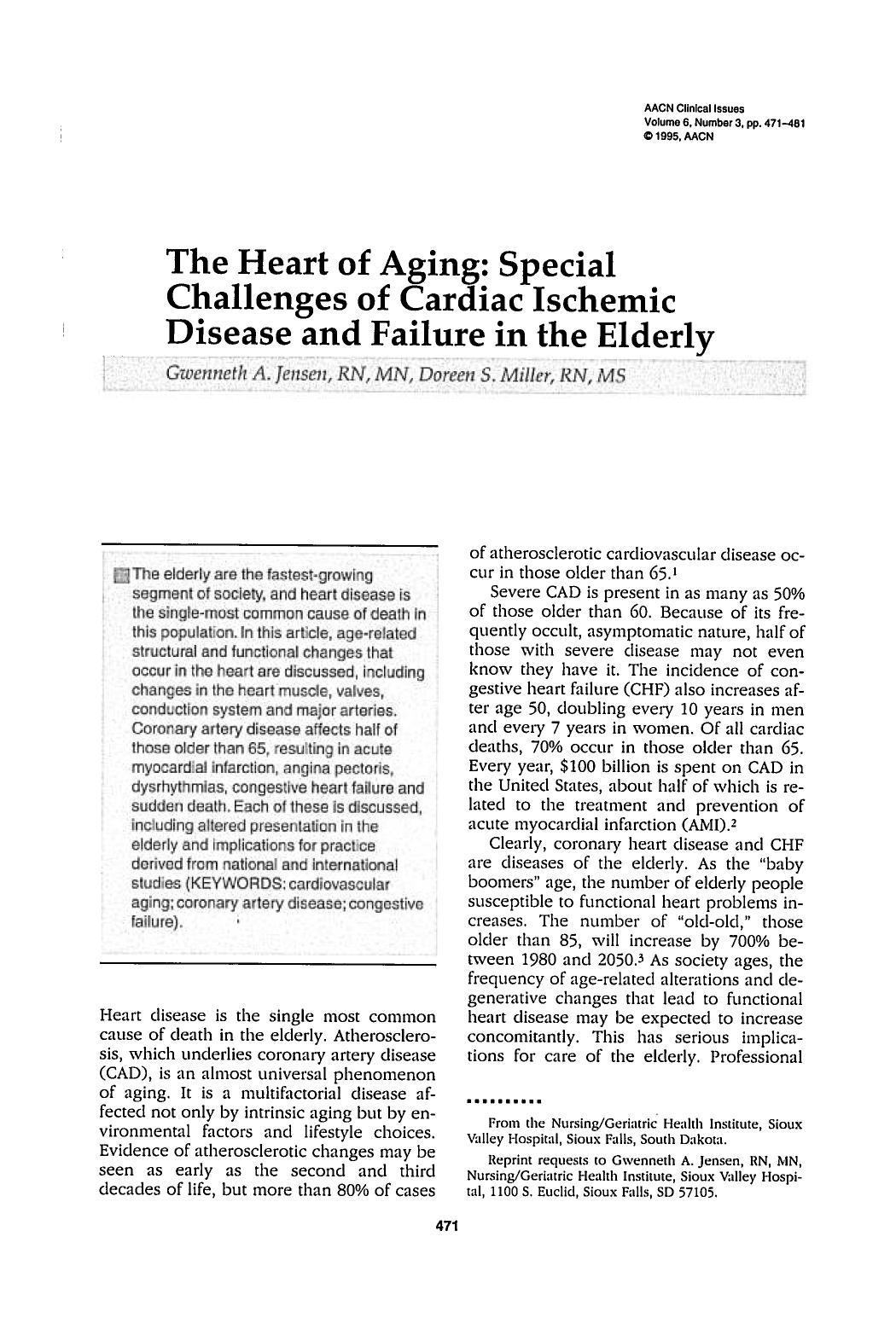 Copertina The Heart of Aging: Special Challenges of Cardiac Ischemic Disease and Failure in the Elderly