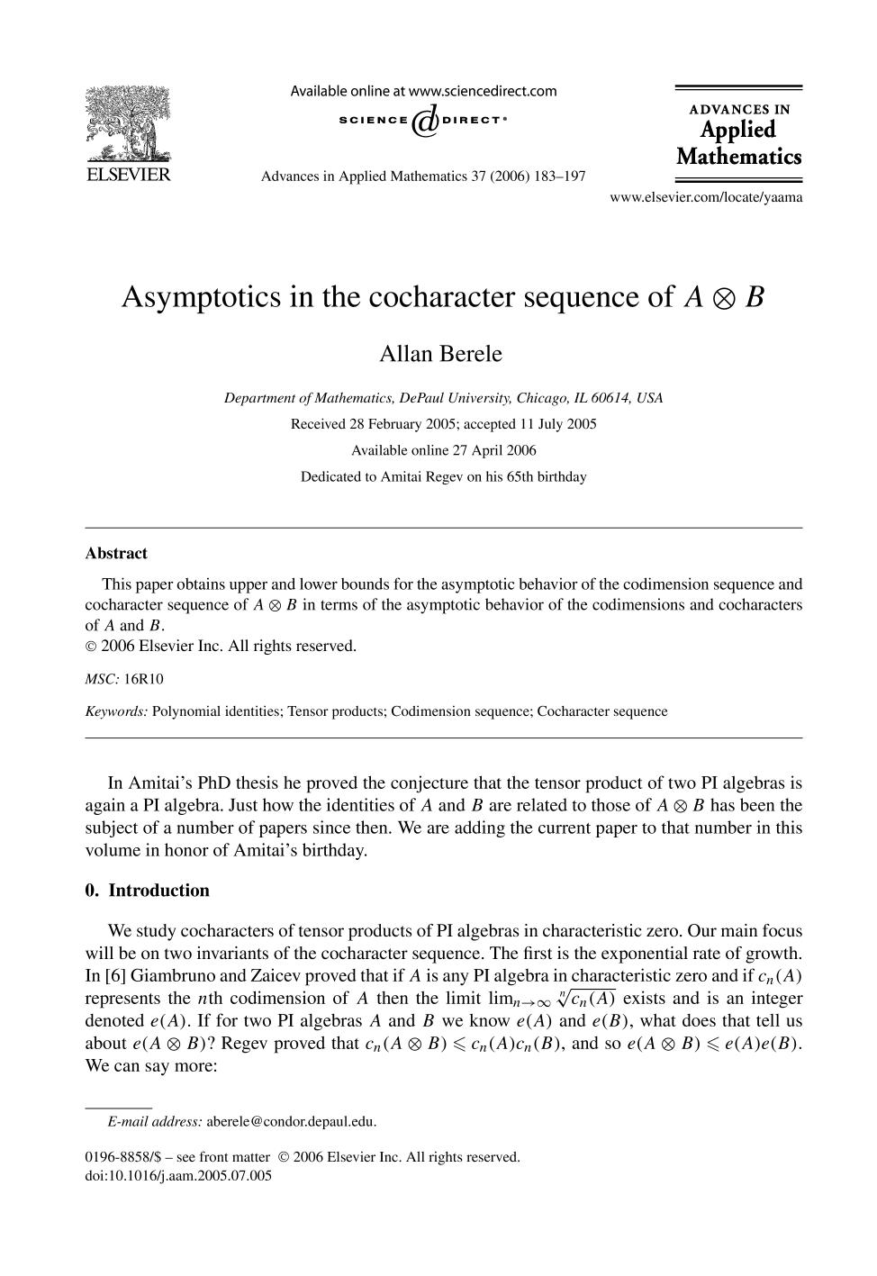 Обкладинка книги Asymptotics in the cocharacter sequence of