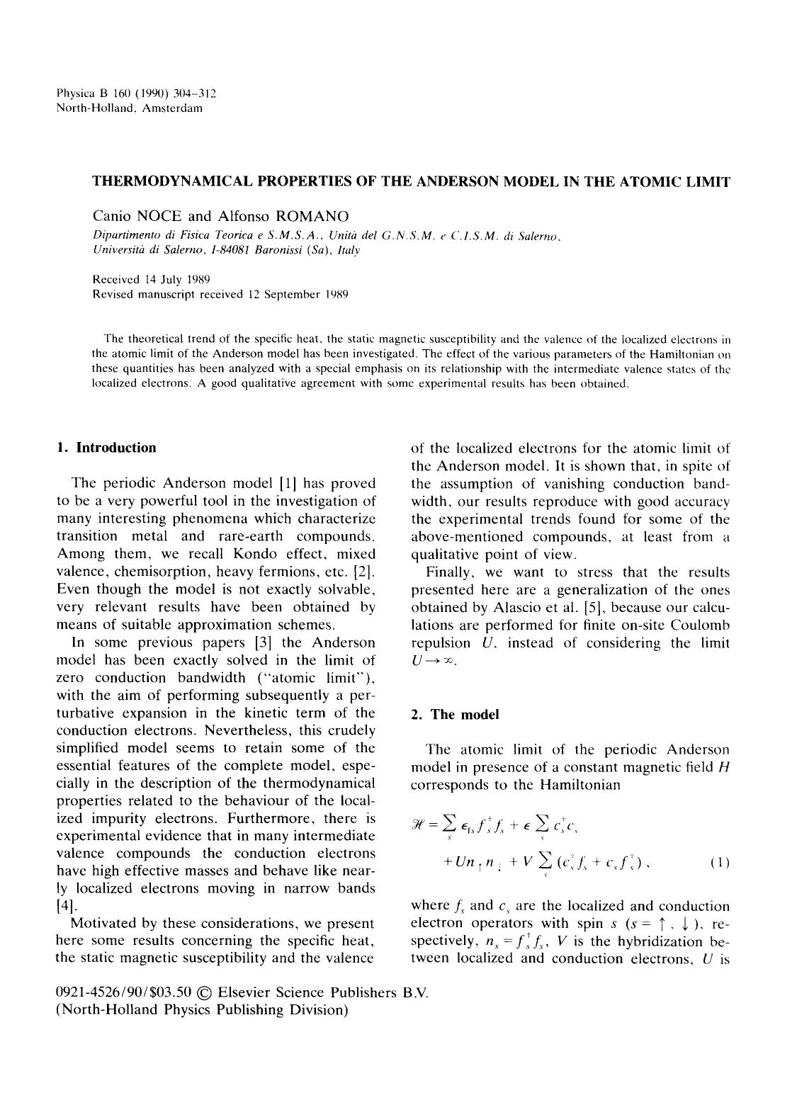 Book cover Thermodynamical properties of the Anderson model in the atomic limit