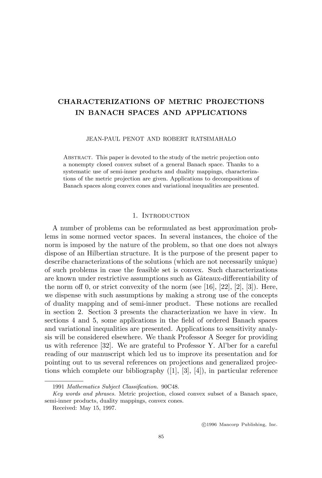 غلاف الكتاب Characterizations of metric projections in Banach spaces and applications