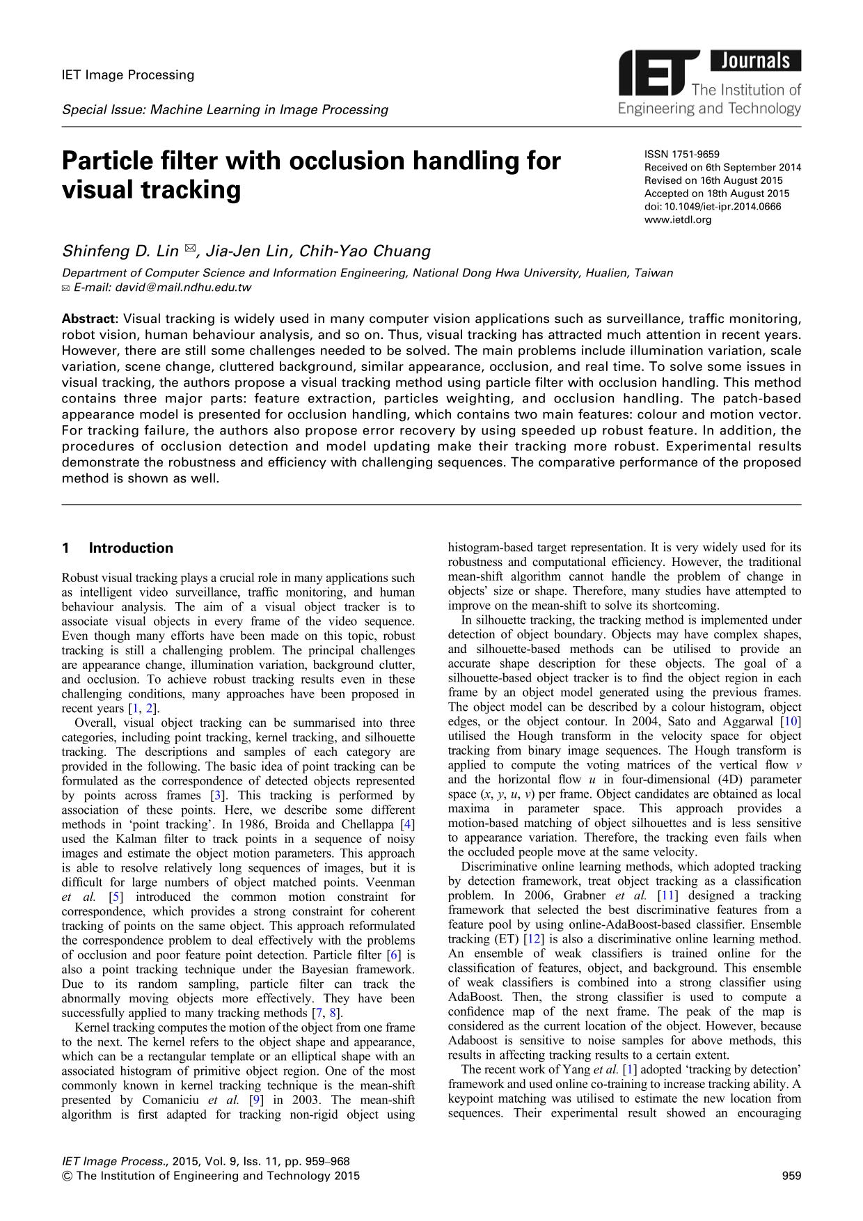Kitap kapağı Particle filter with occlusion handling for visual tracking