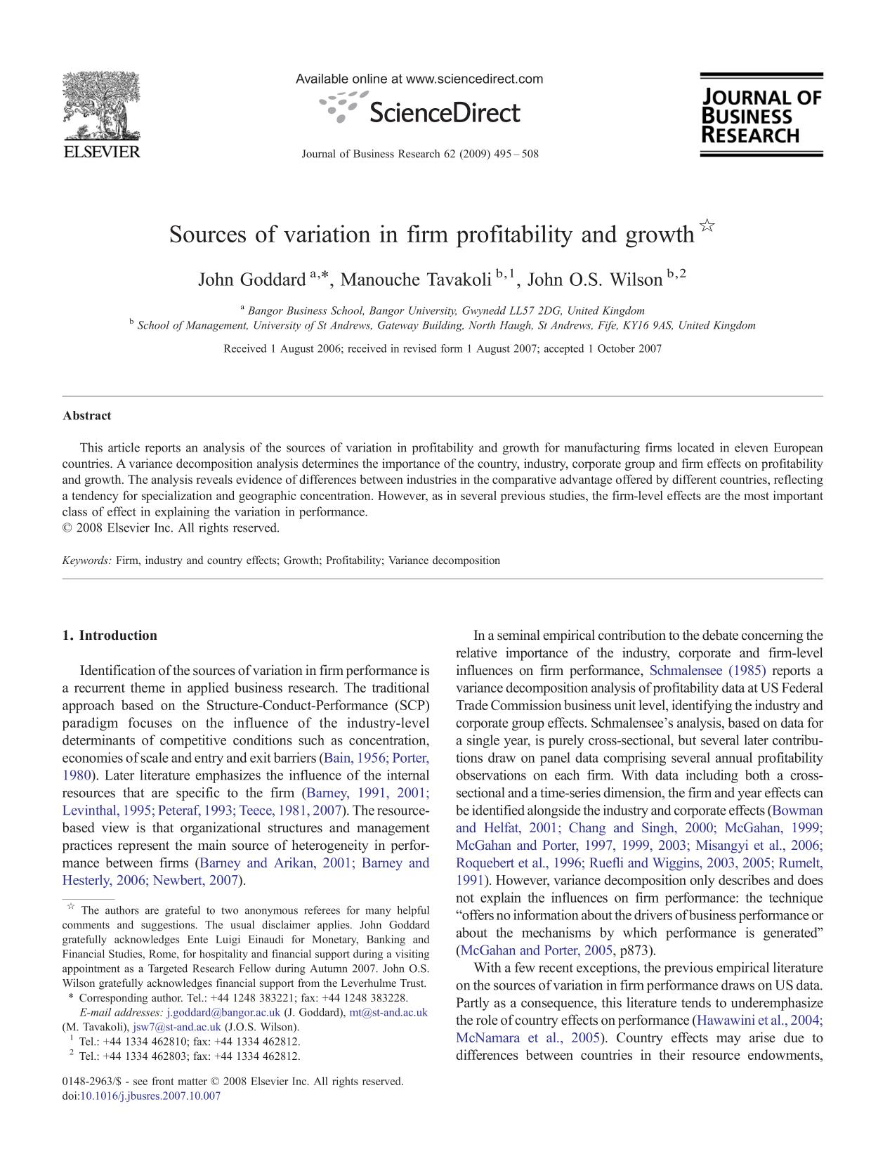 Portada del libro Sources of variation in firm profitability and growth