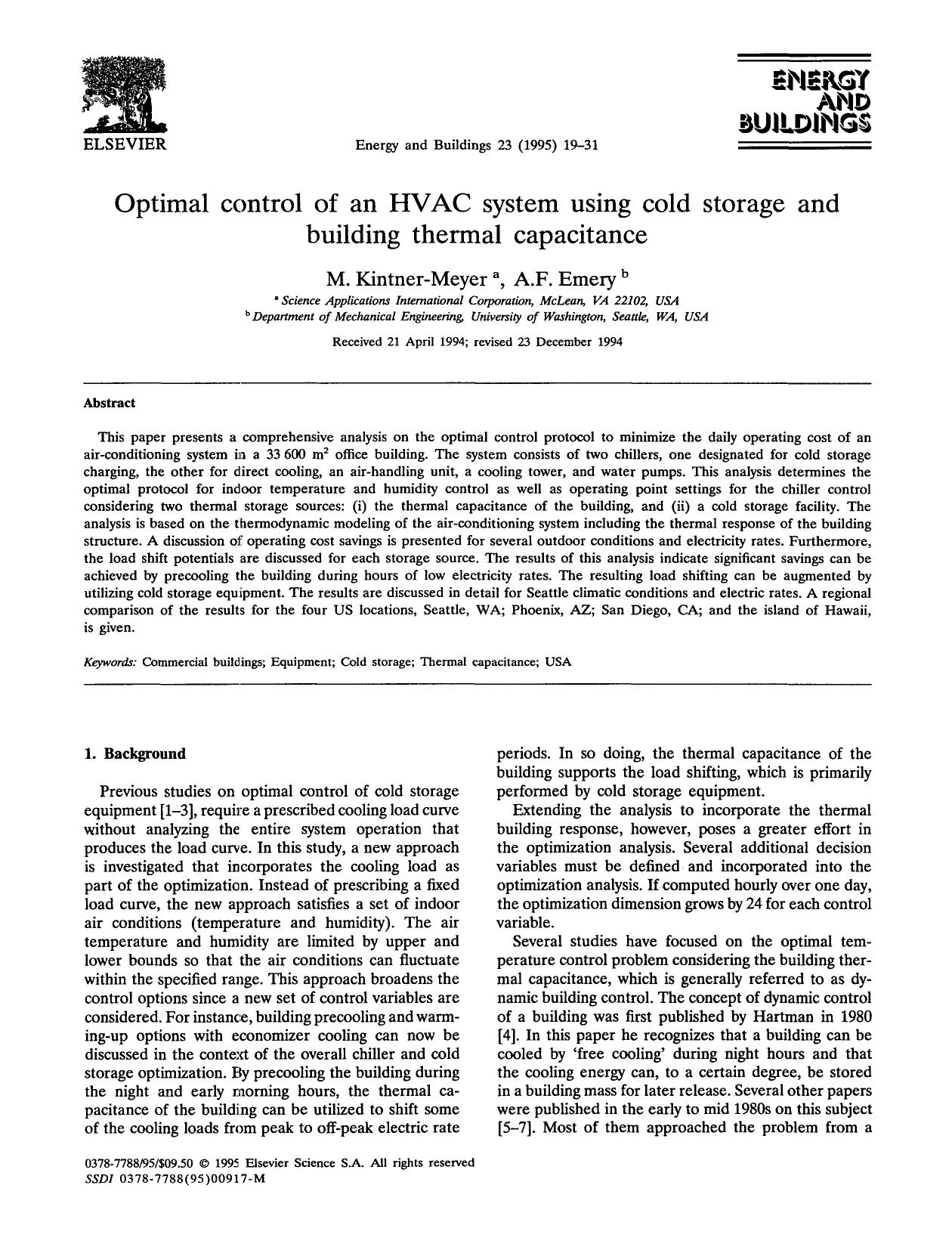书籍封面 Optimal control of an HVAC system using cold storage and building thermal capacitance