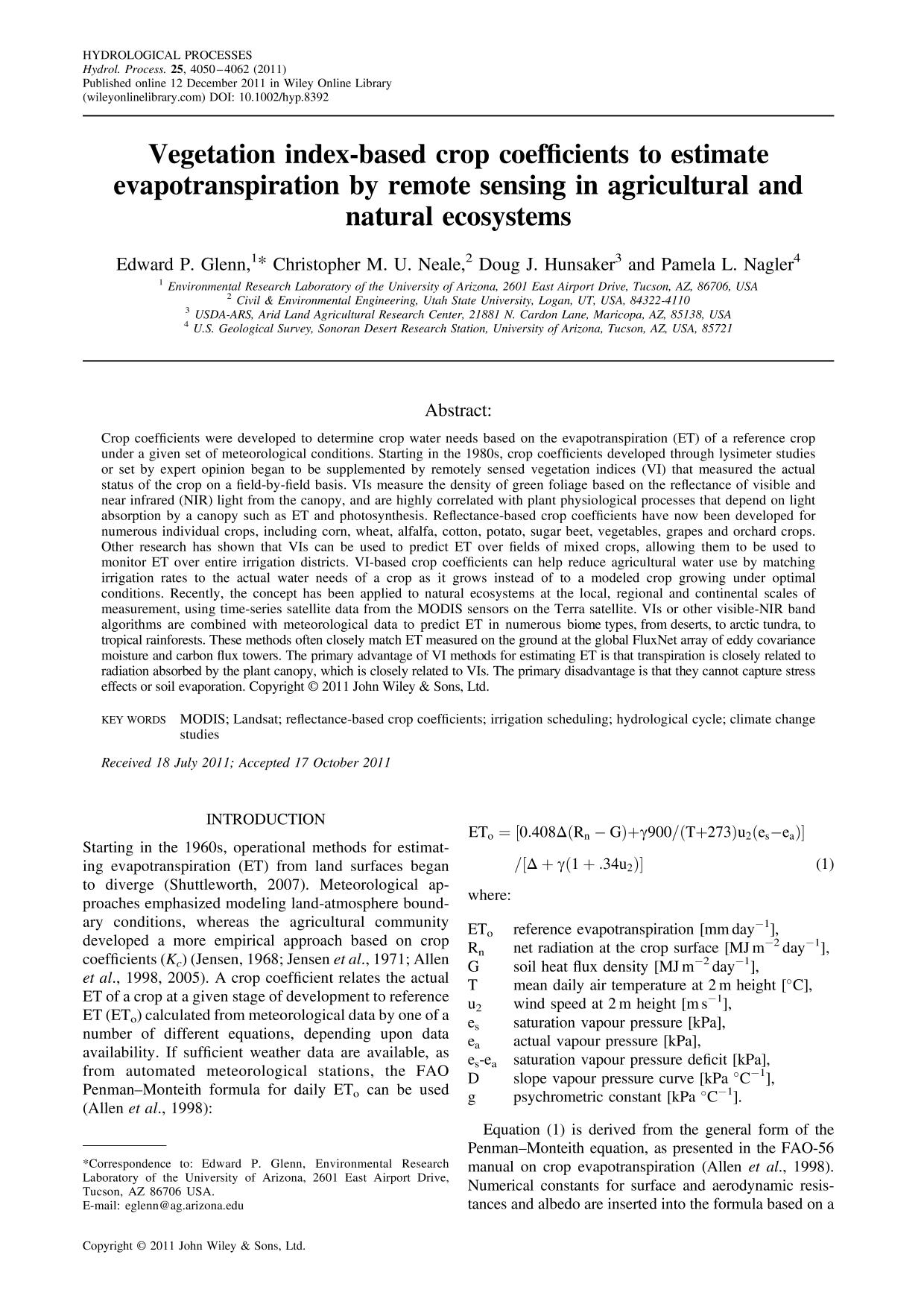 封面 Vegetation index-based crop coefficients to estimate evapotranspiration by remote sensing in agricultural and natural ecosystems