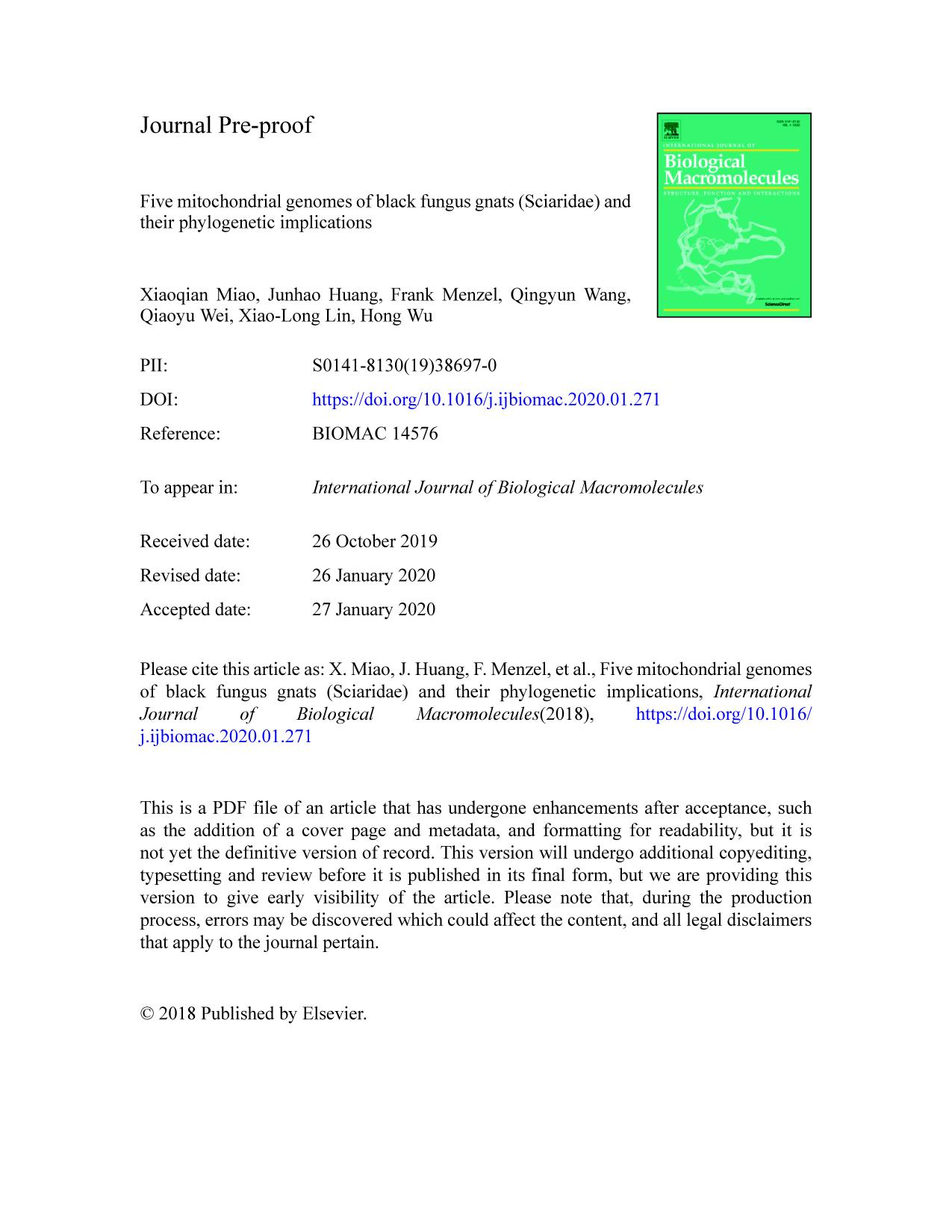 Book cover Five mitochondrial genomes of black fungus gnats (Sciaridae) and their phylogenetic implications