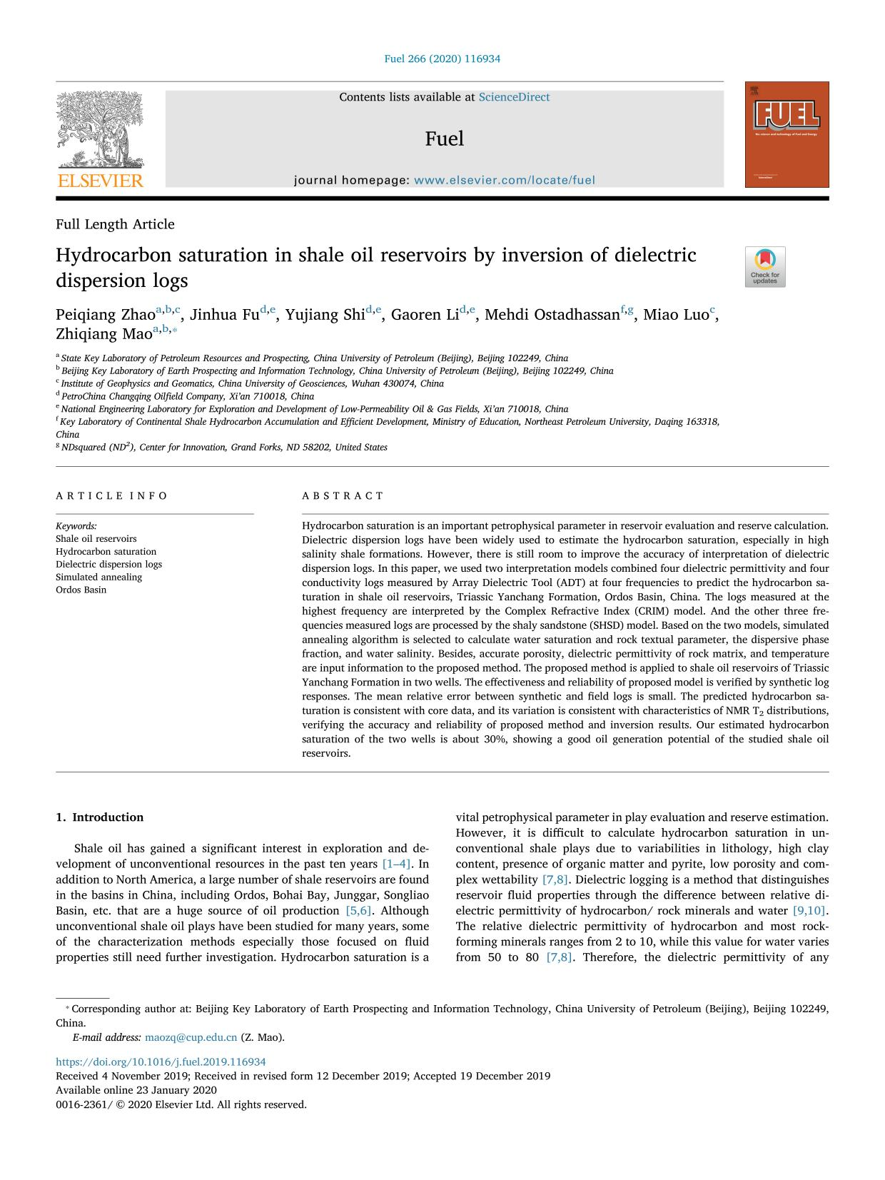 Copertina del libro Hydrocarbon saturation in shale oil reservoirs by inversion of dielectric dispersion logs