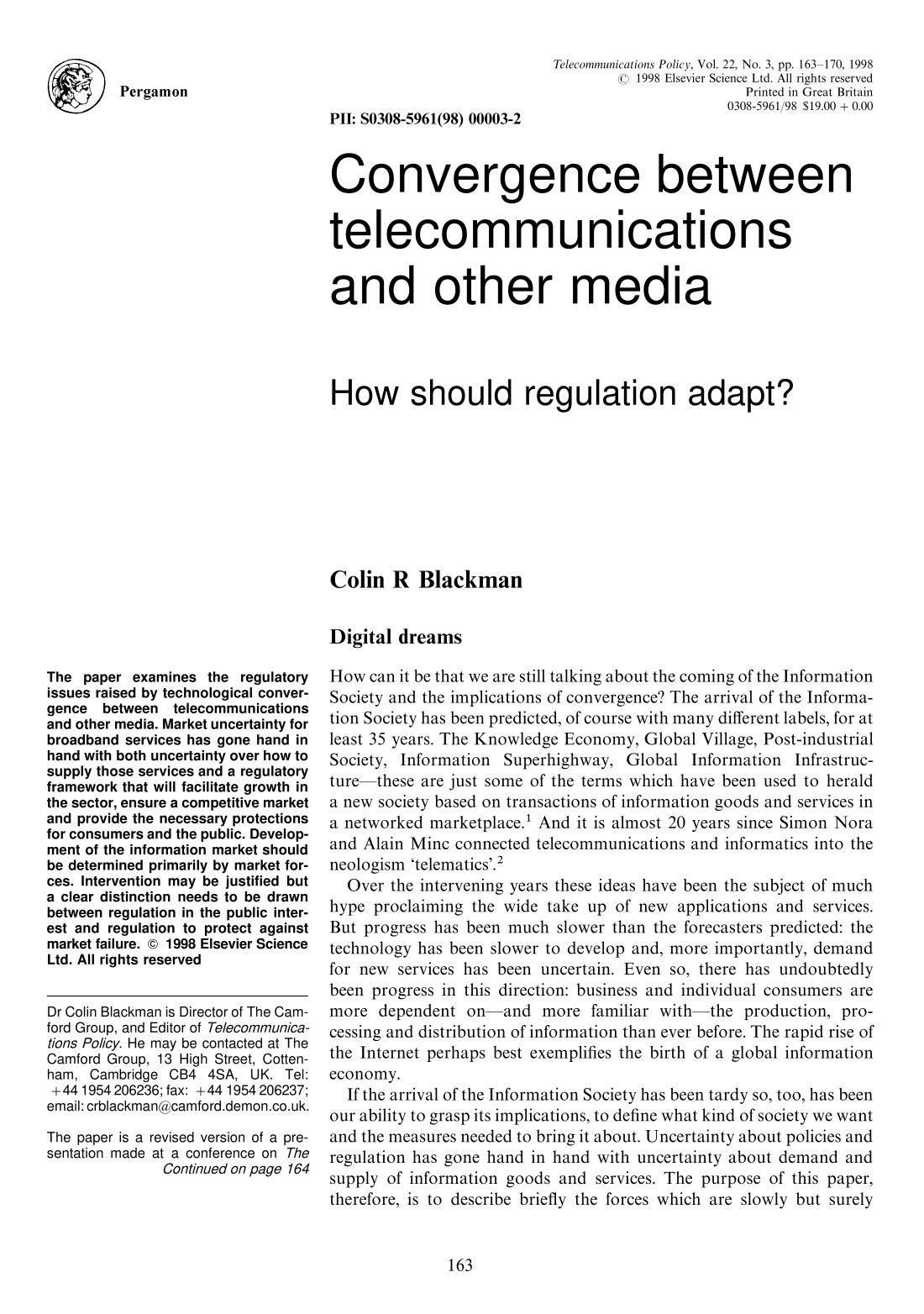 Portada del libro Convergence between telecommunications and other media: How should regulation adapt?