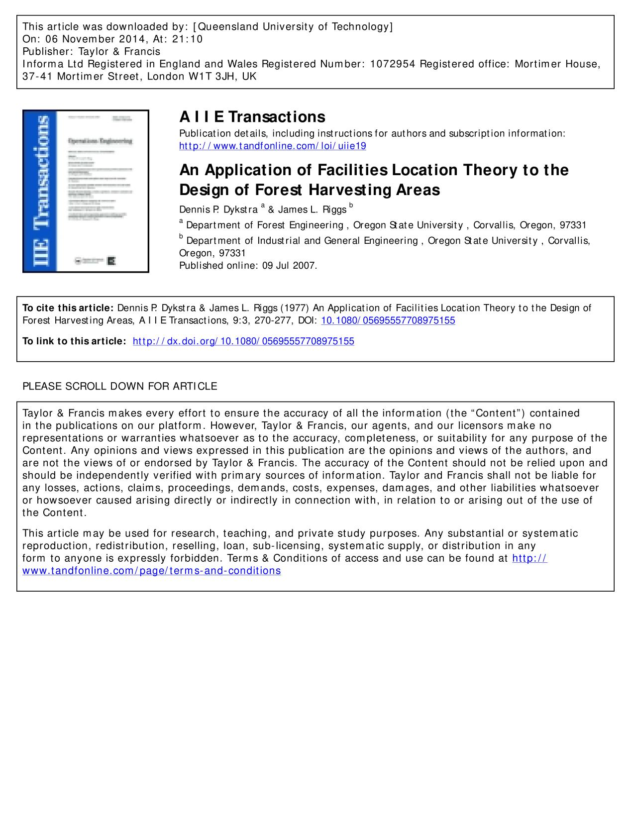 Portada del libro An Application of Facilities Location Theory to the Design of Forest Harvesting Areas