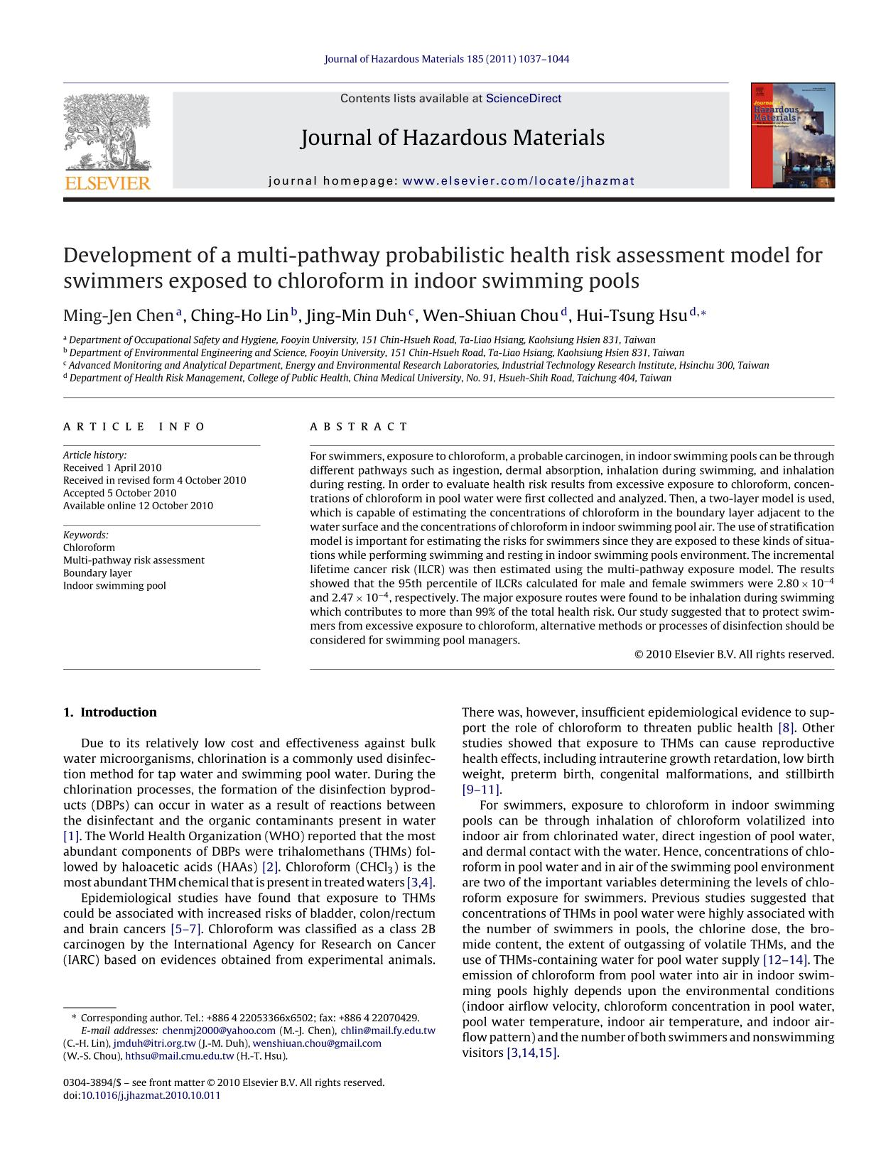 Portada del libro Development of a multi-pathway probabilistic health risk assessment model for swimmers exposed to chloroform in indoor swimming pools