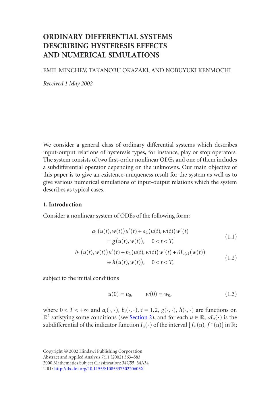 Обкладинка книги Ordinary differential systems describing hysteresis effects and numerical simulations