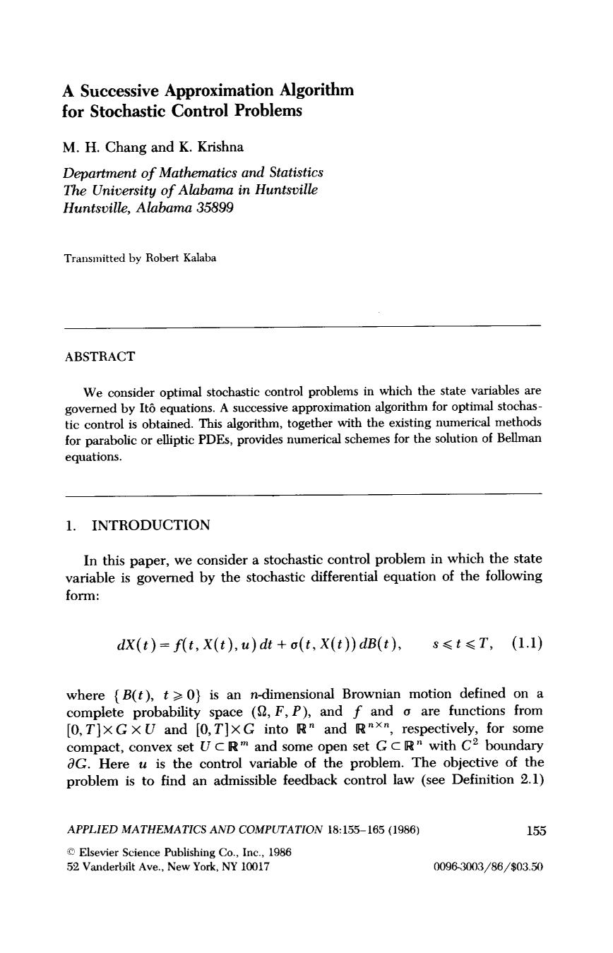 Book cover A successive approximation algorithm for stochastic control problems
