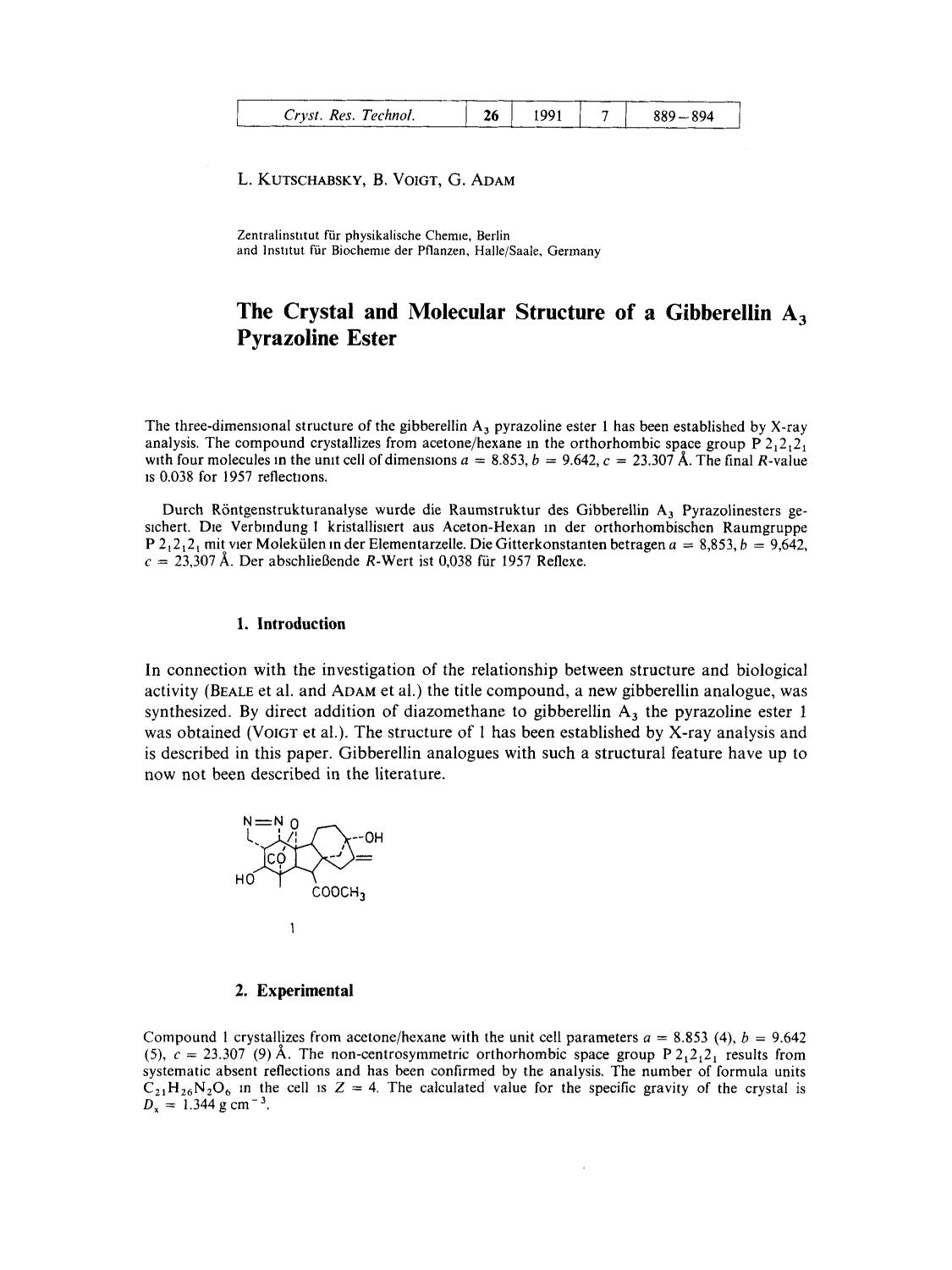 Обложка книги The Crystal and Molecular Structure of a Gibberellin A3 Pyrazoline Ester