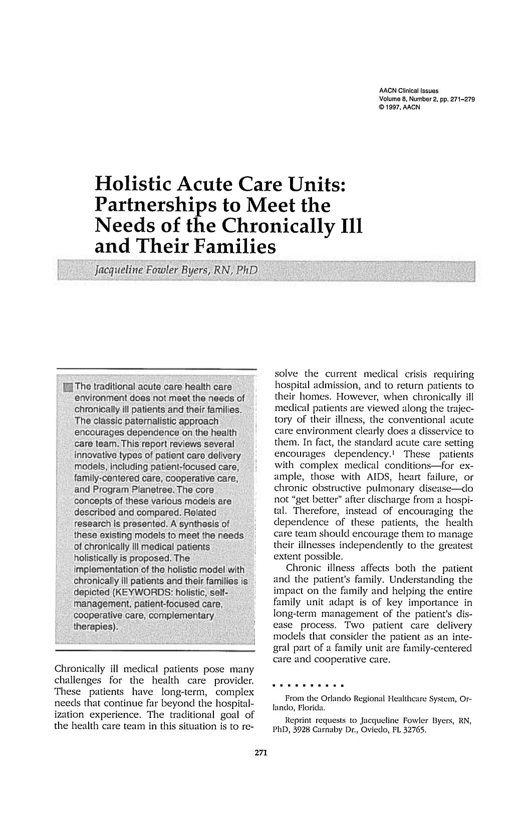 Copertina del libro Holistic Acute Care Units: Partnerships to Meet the Needs of the Chronically III and Their Families