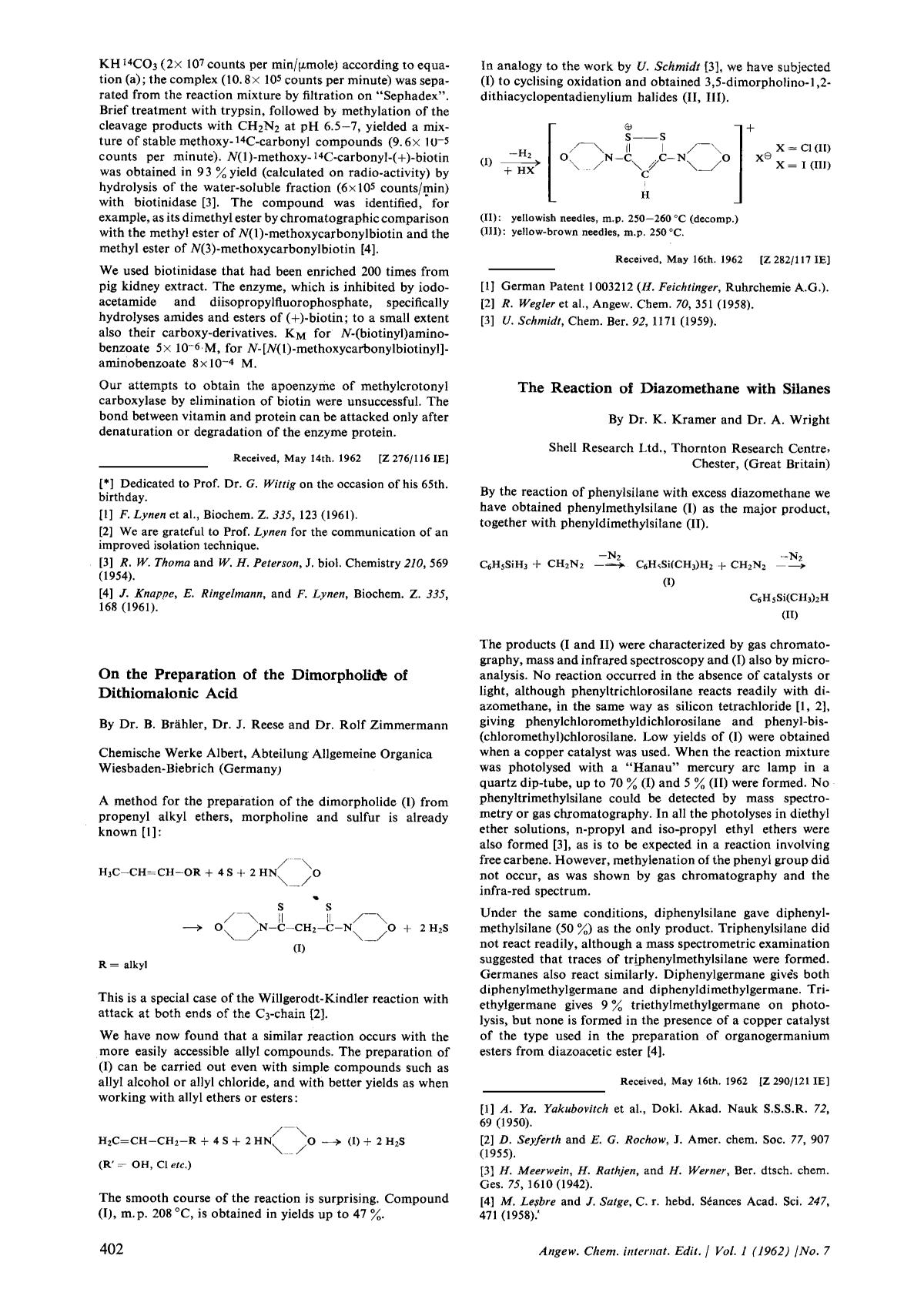 Couverture The Reaction of Diazomethane with Silanes
