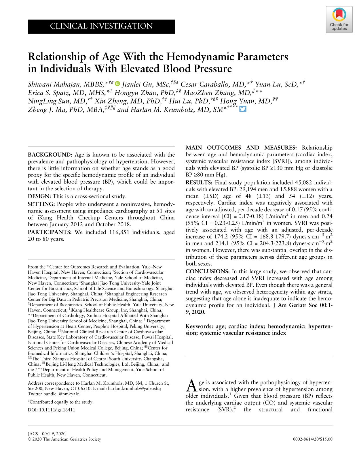 Couverture Relationship of Age With the Hemodynamic Parameters in Individuals With Elevated Blood Pressure