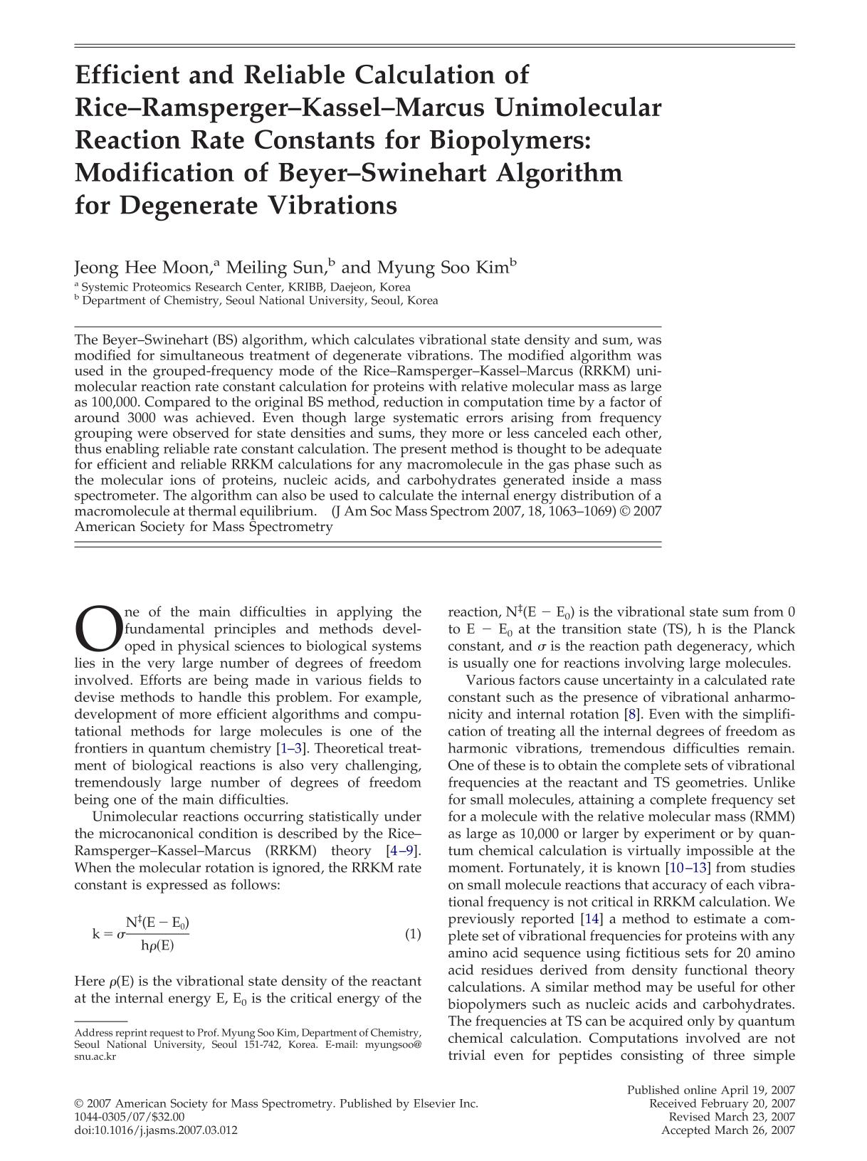 Book cover Efficient and reliable calculation of rice-ramsperger—kassel-marcus unimolecular reaction rate constants for biopolymers: Modification of beyer-swinehart algorithm for degenerate vibrations