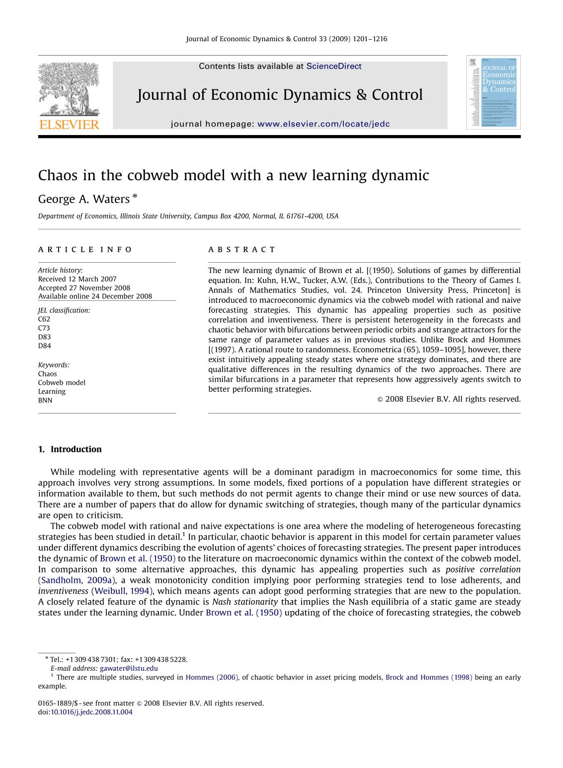 Couverture du livre Chaos in the cobweb model with a new learning dynamic