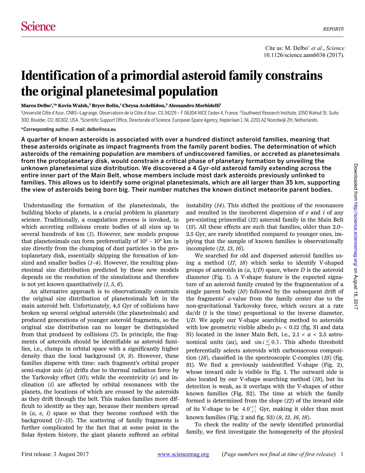 Portada del libro Identification of a primordial asteroid family constrains the original planetesimal population