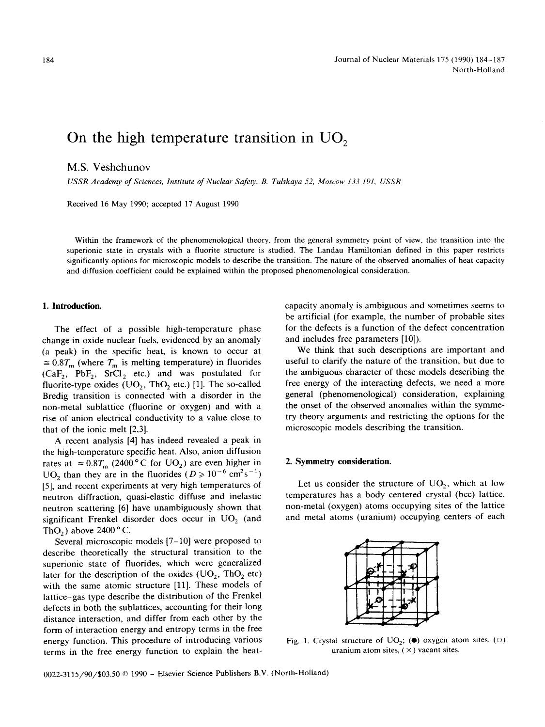 Sampul buku On the high temperature transition in UO2