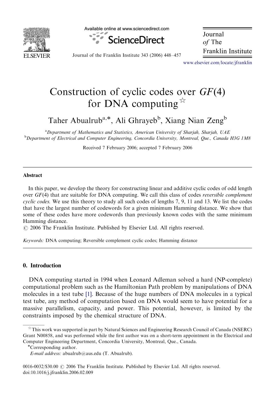 पुस्तक आवरण Construction of cyclic codes over for DNA computing