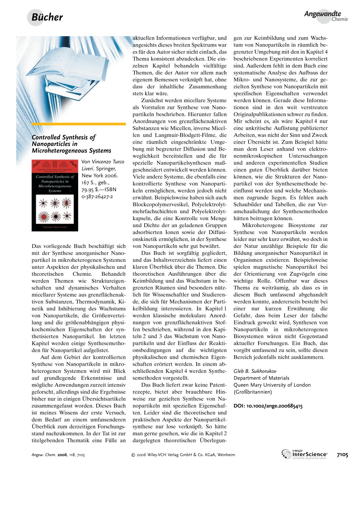 Обложка книги Controlled Synthesis of Nanoparticles in Microheterogeneous Systems. Von Vincenzo Turco Liveri.