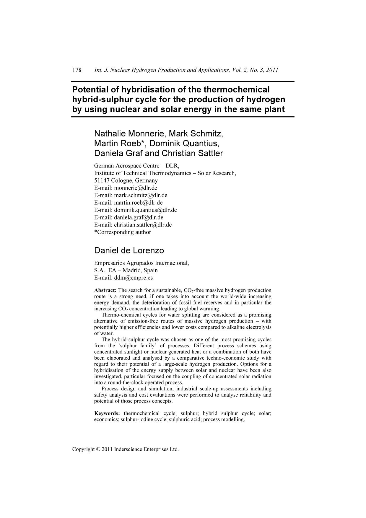 A capa do livro Potential of hybridisation of the thermochemical hybrid-sulphur cycle for the production of hydrogen by using nuclear and solar energy in the same plant