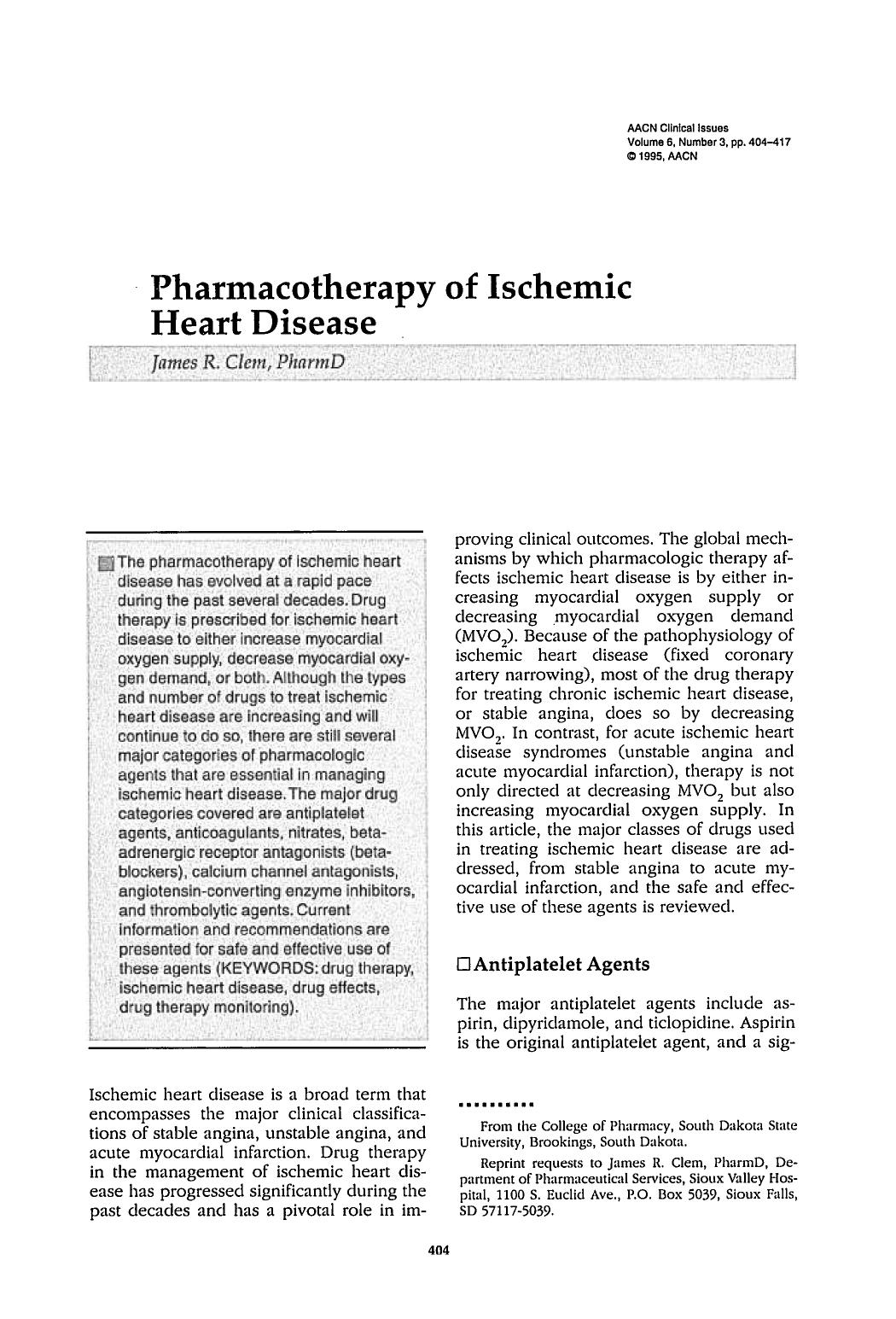 封面 Pharmacotherapy of Ischemic Heart Disease