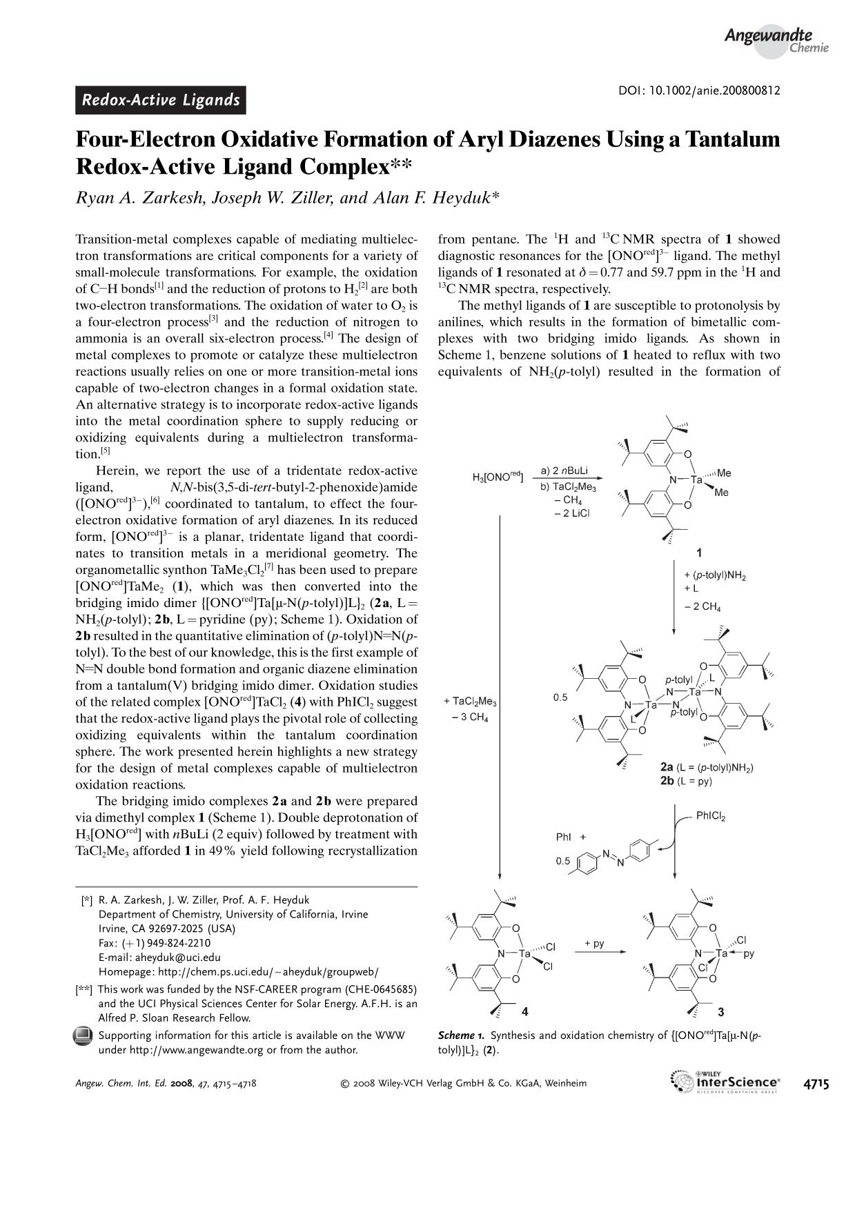 Copertina Four-Electron Oxidative Formation of Aryl Diazenes Using a Tantalum Redox-Active Ligand Complex