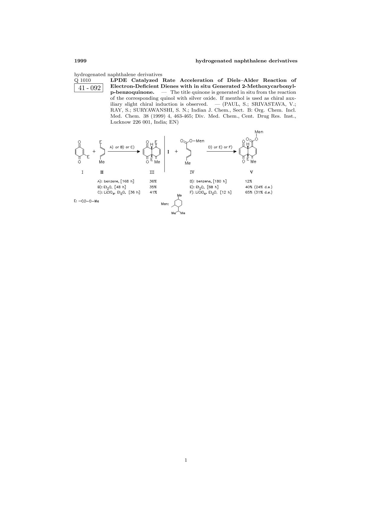 Sampul buku ChemInform Abstract: LPDE Catalyzed Rate Acceleration of Diels—Alder Reaction of Electron-Deficient Dienes with in situ Generated 2-Methoxycarbonyl-p-benzoquinone.<span></span>