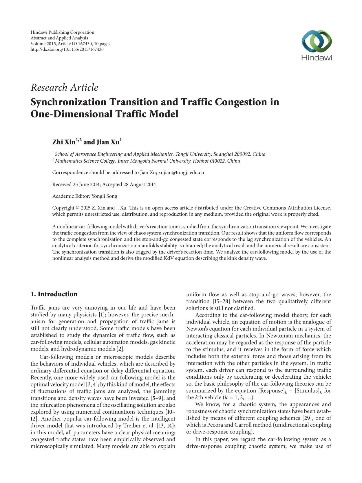 Обкладинка книги Synchronization Transition and Traffic Congestion in One-Dimensional Traffic Model
