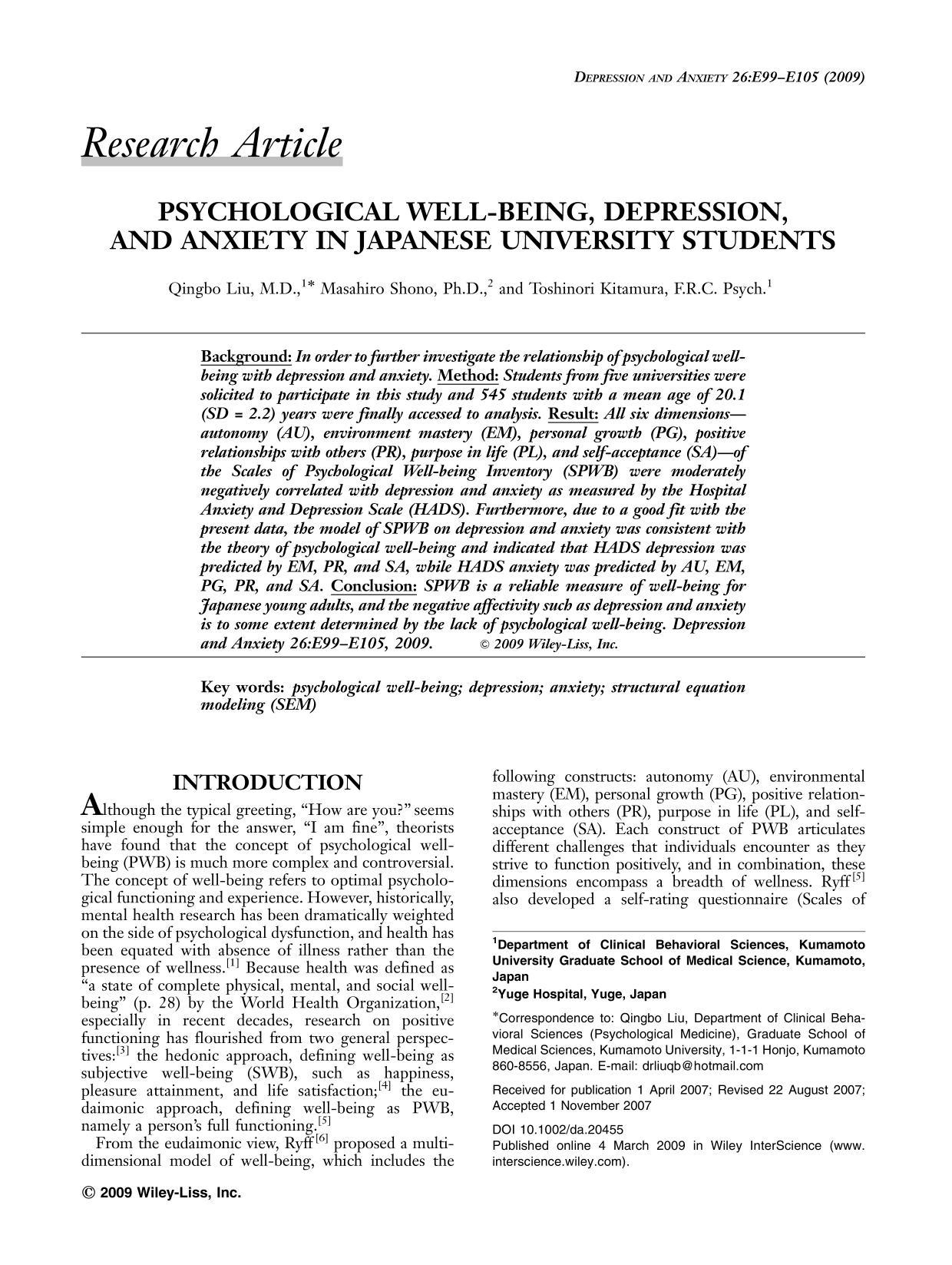 Portada del libro Psychological well-being, depression, and anxiety in Japanese university students