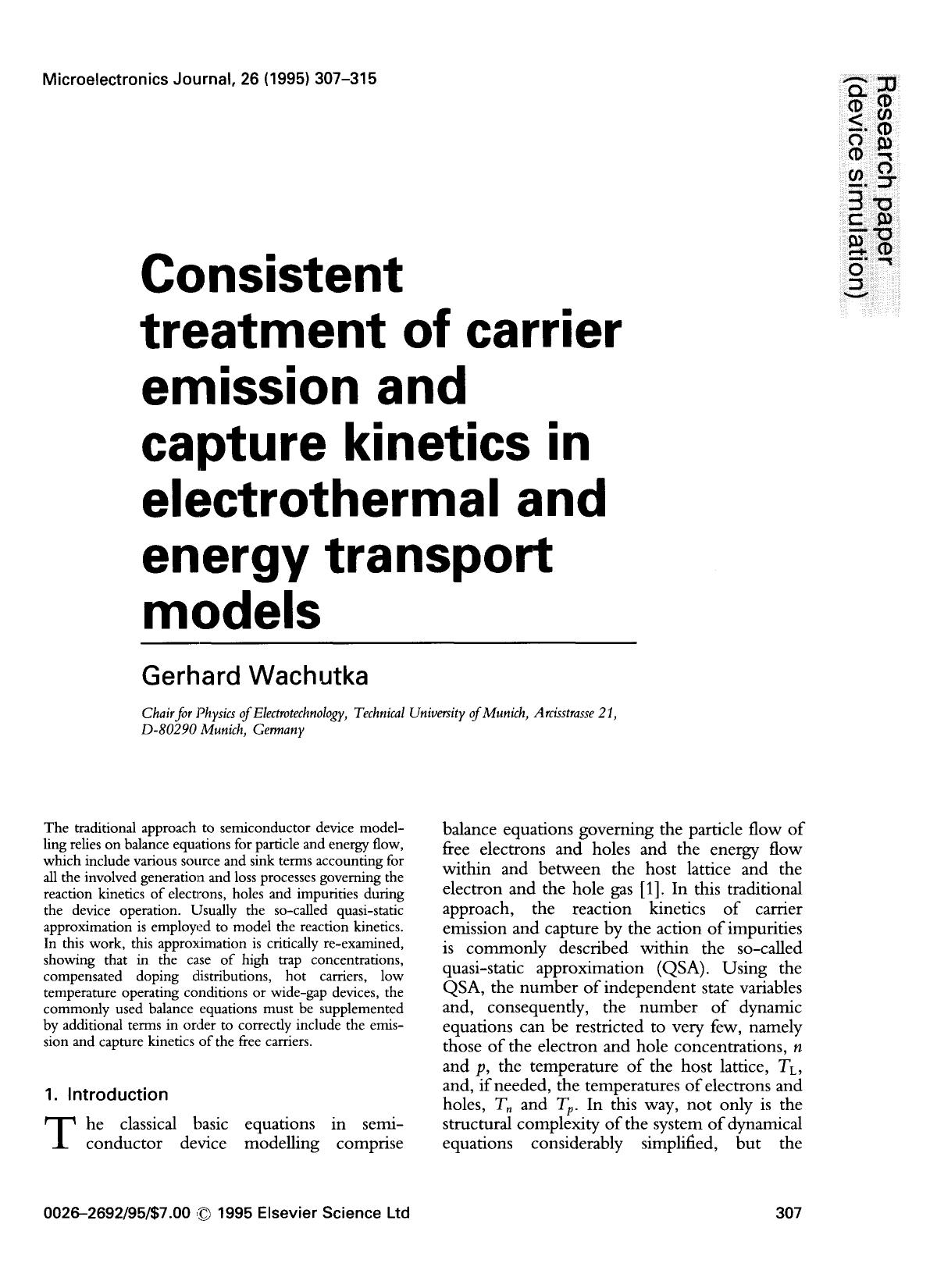 Обложка книги Consistent treatment of carrier emission and capture kinetics in electrothermal and energy transport models