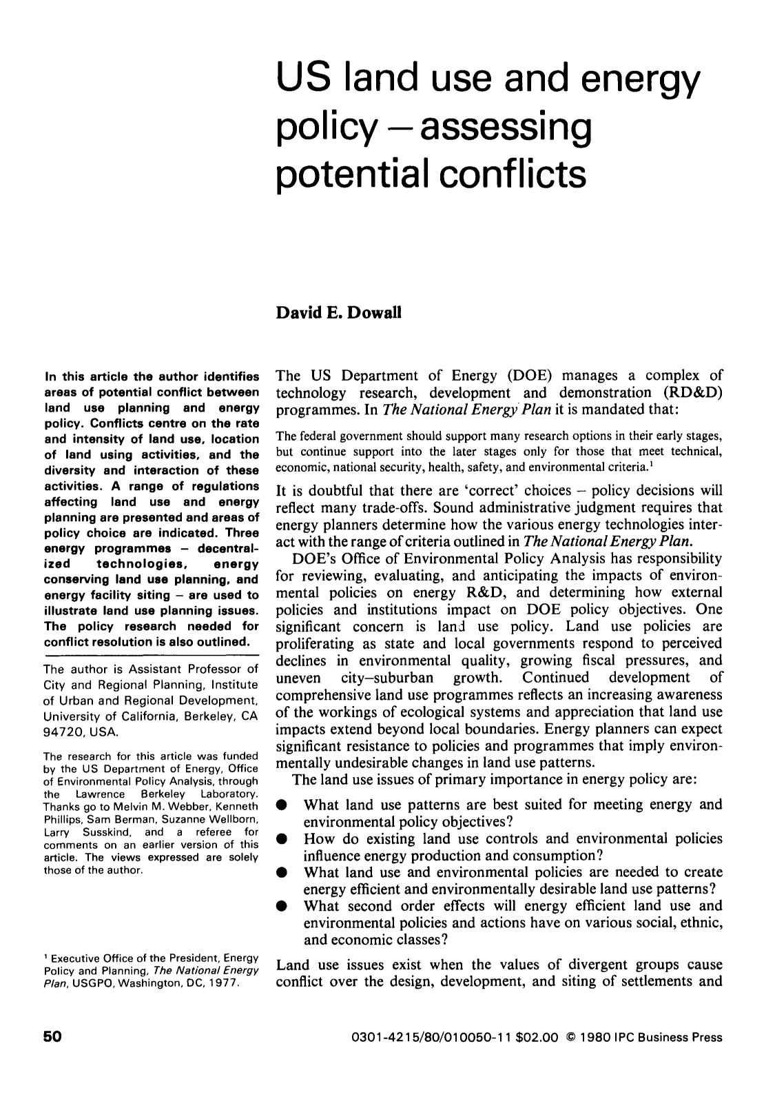 Book cover US land use and energy policy — assessing potential conflicts