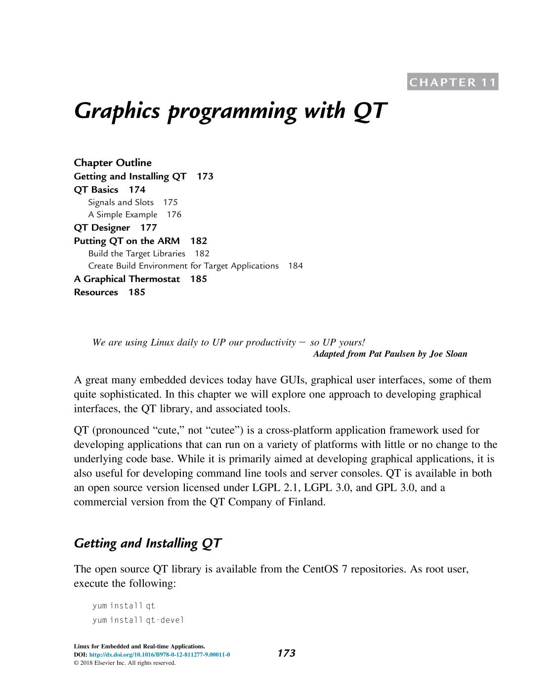 Portada del libro Linux for Embedded and Real-Time Applications || Graphics programming with QT