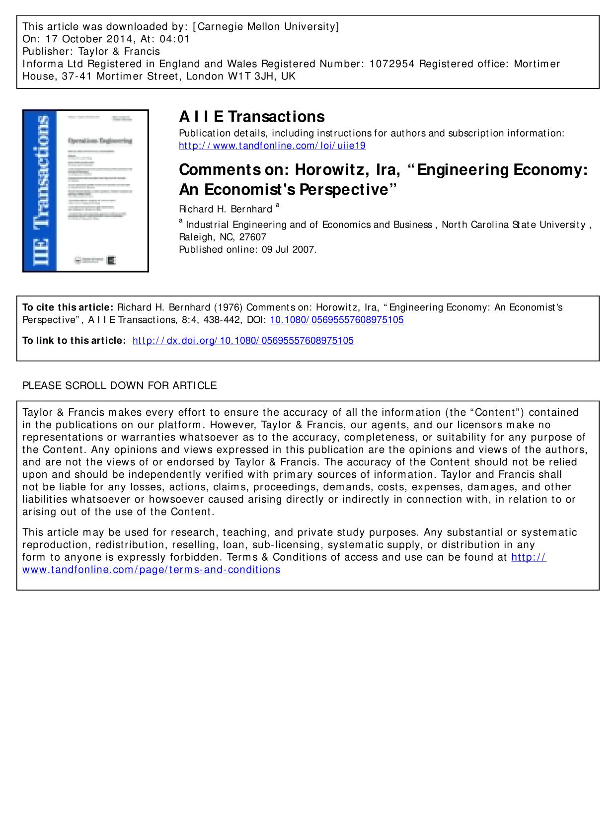 "書籍の表紙 Comments on: Horowitz, Ira, ""Engineering Economy: An Economist's Perspective"""