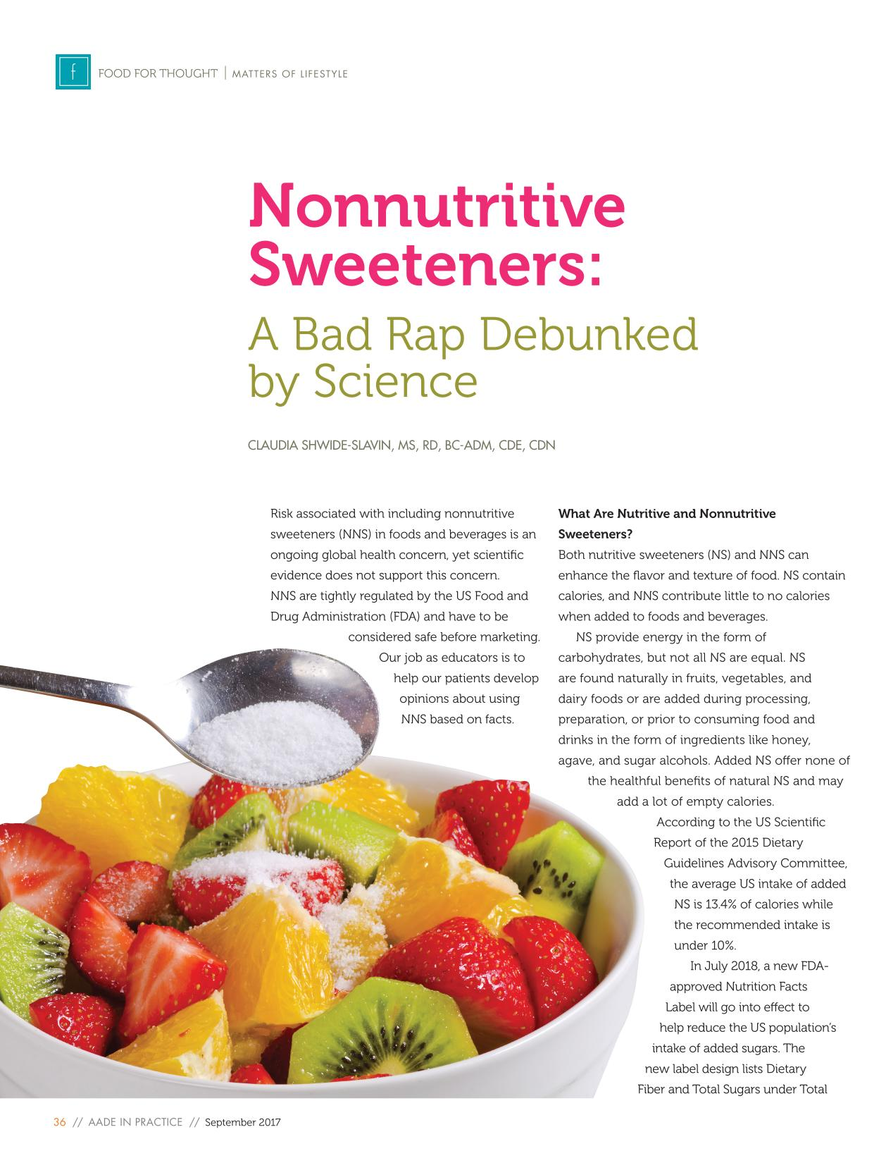 Copertina Nonnutritive Sweeteners: A Bad Rap Debunked by Science