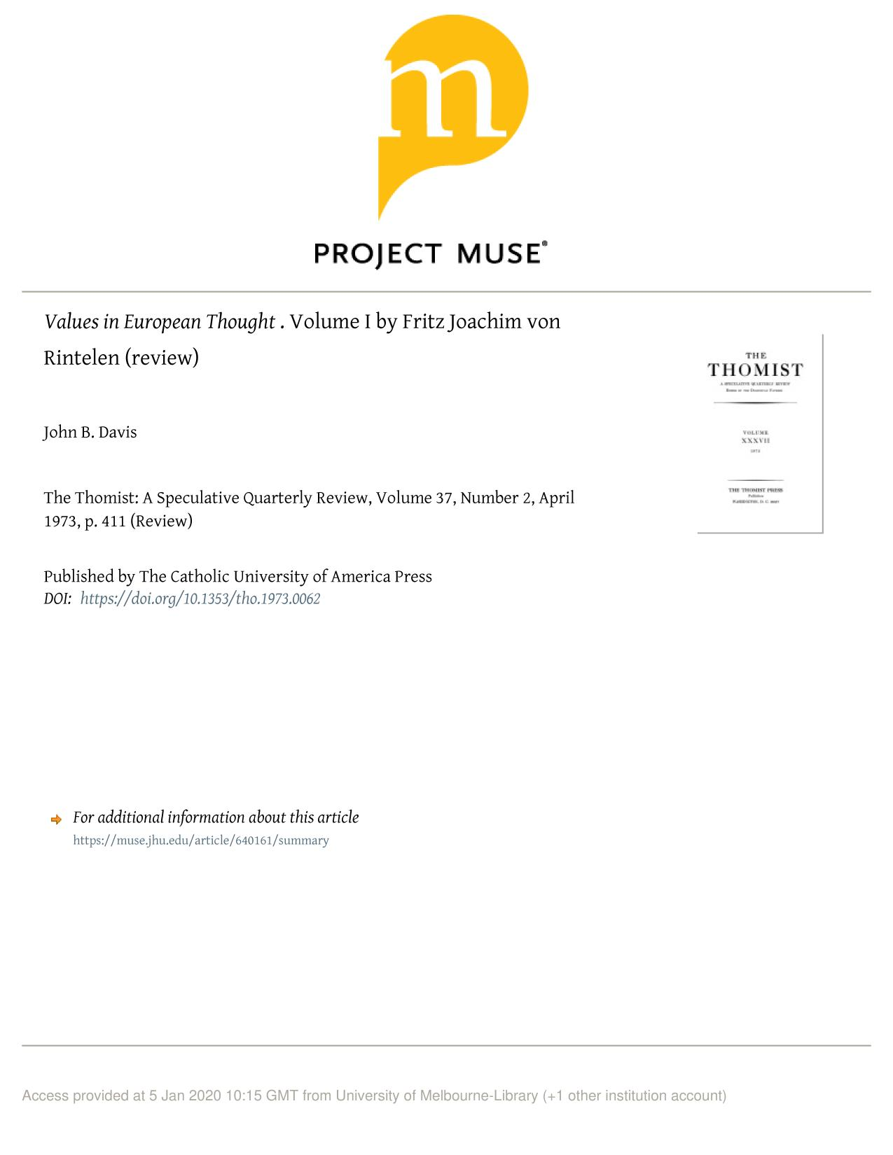 书籍封面 Values in European Thought. Volume I by Fritz Joachim von Rintelen