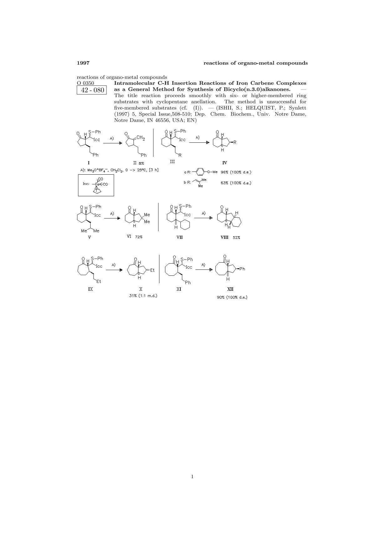 書籍の表紙 ChemInform Abstract: Intramolecular C-H Insertion Reactions of Iron Carbene Complexes as a General Method for Synthesis of Bicyclo(n.3.0)alkanones.<span></span>