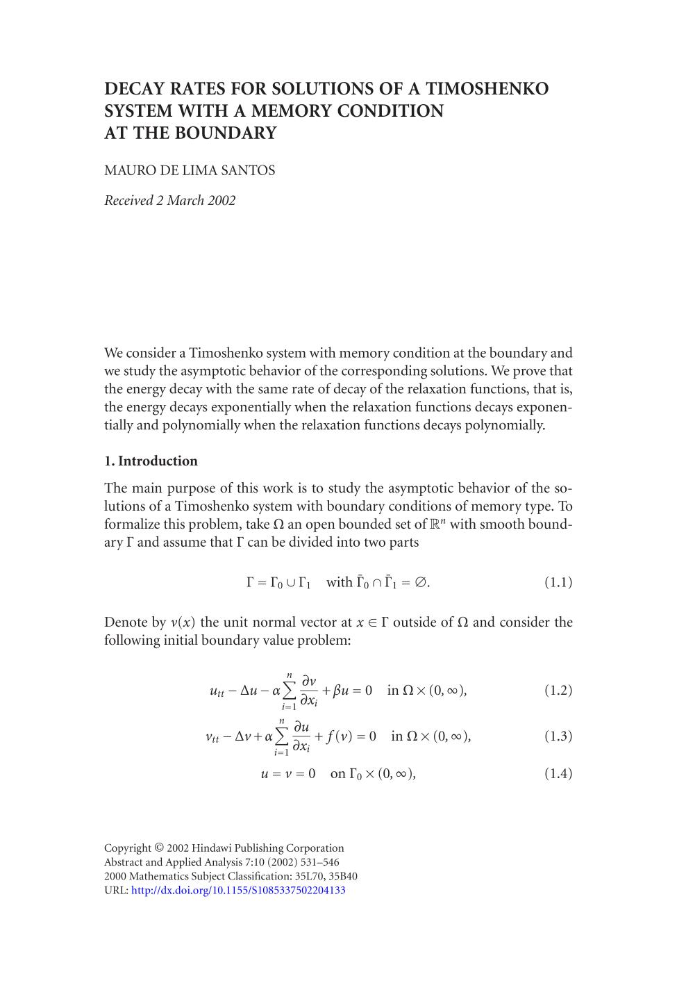 Couverture du livre Decay rates for solutions of a Timoshenko system with a memory condition at the boundary
