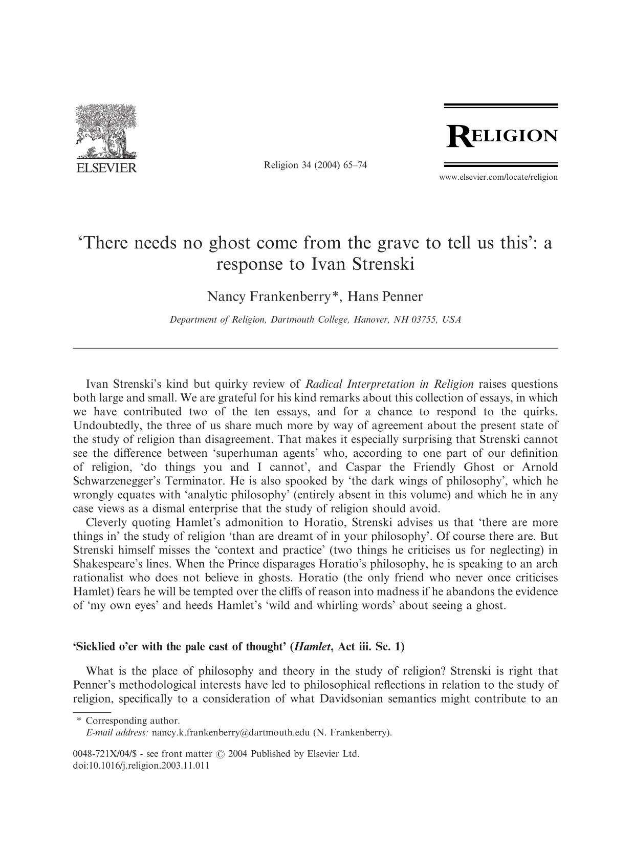 Book cover 'There needs no ghost come from the grave to tell us this': a response to Ivan Strenski