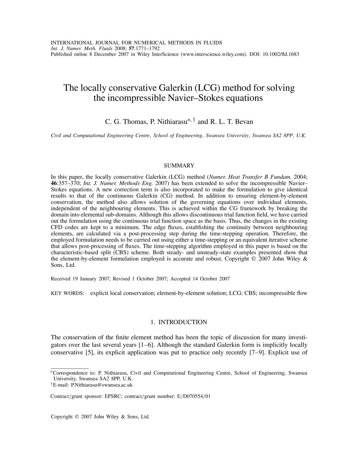 Portada del libro The locally conservative Galerkin (LCG) method for solving the incompressible Navier–Stokes equations