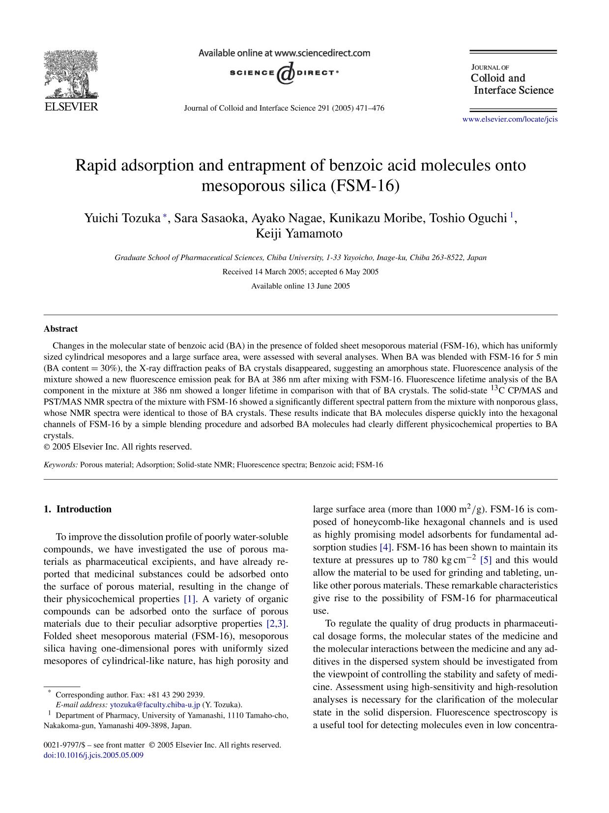Book cover Rapid adsorption and entrapment of benzoic acid molecules onto mesoporous silica (FSM-16)