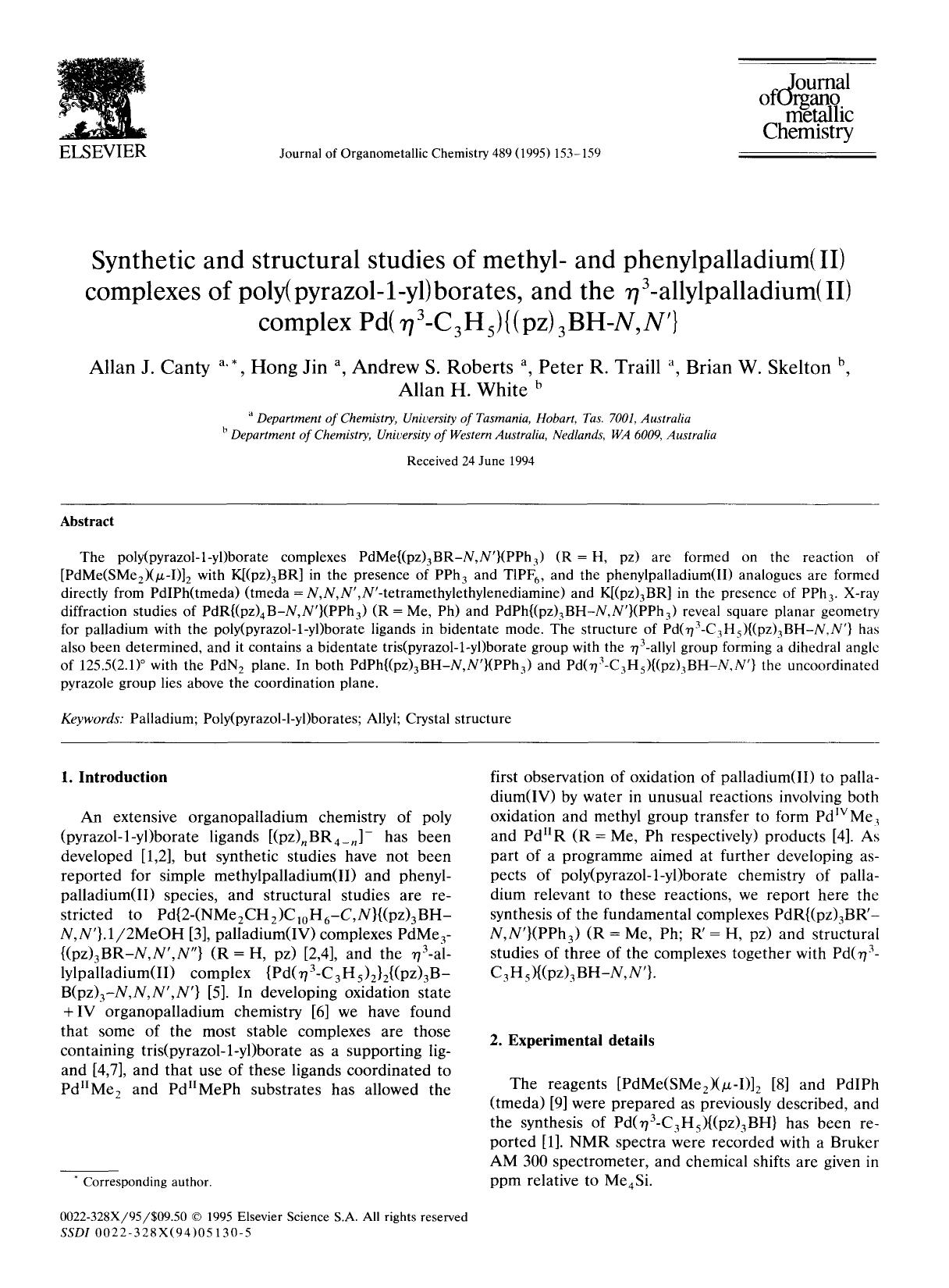 書籍の表紙 Synthetic and structural studies of methyl- and phenylpalladium(II) complexes of poly(pyrazol-1-yl) borates, and the η3-allylpalladium(II) complex Pd(η3-C3H5){(pz)3BH-N,N′}