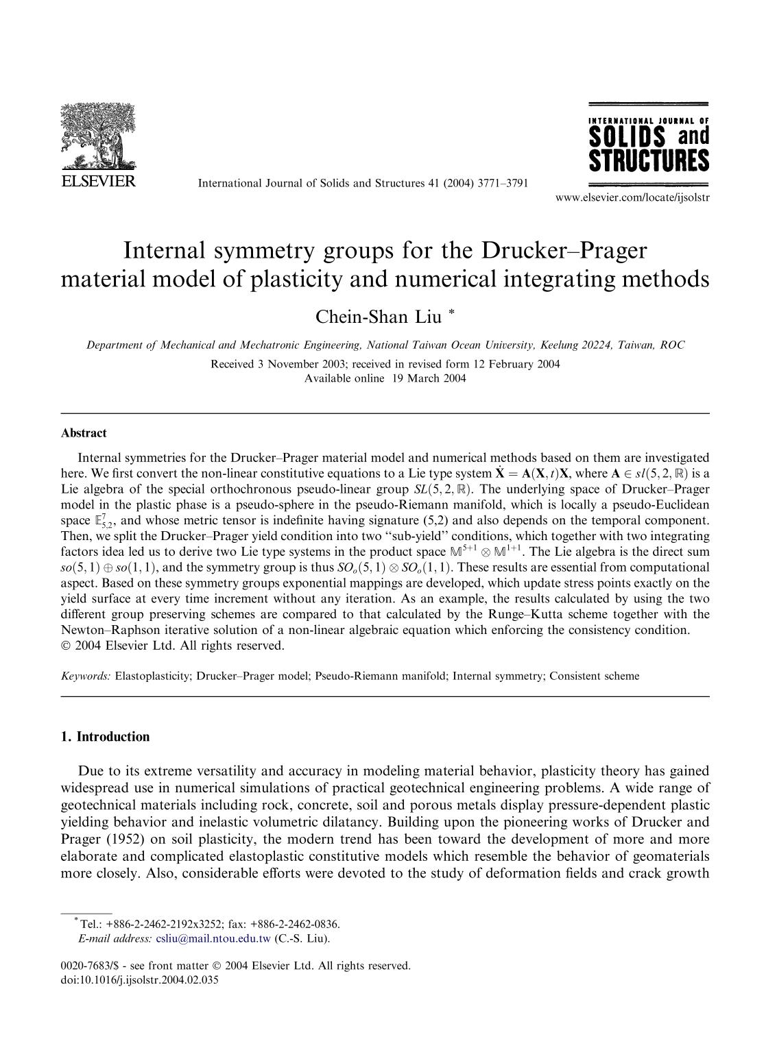 Couverture Internal symmetry groups for the Drucker–Prager material model of plasticity and numerical integrating methods