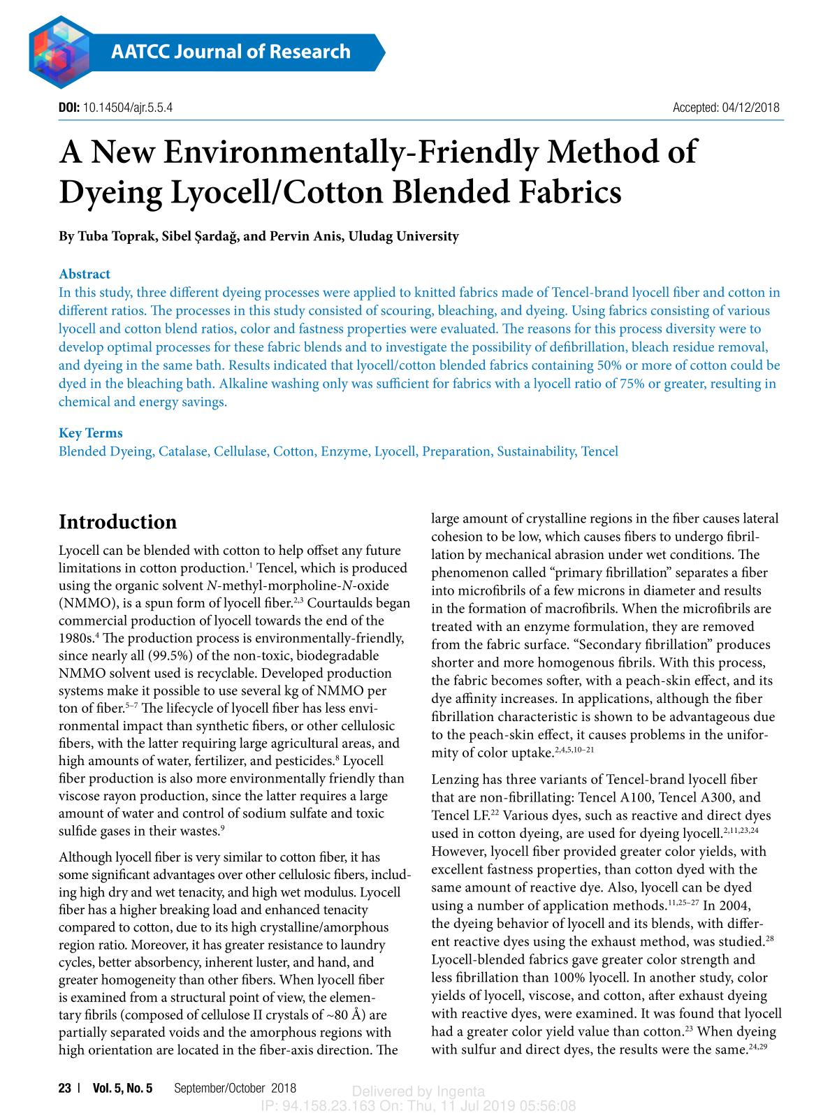 Book cover A New Environmentally-Friendly Method of Dyeing Lyocell/Cotton Blended Fabrics
