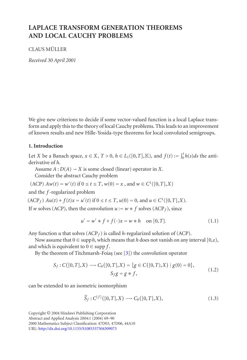 Buchdeckel Laplace transform generation theorems and local Cauchy problems